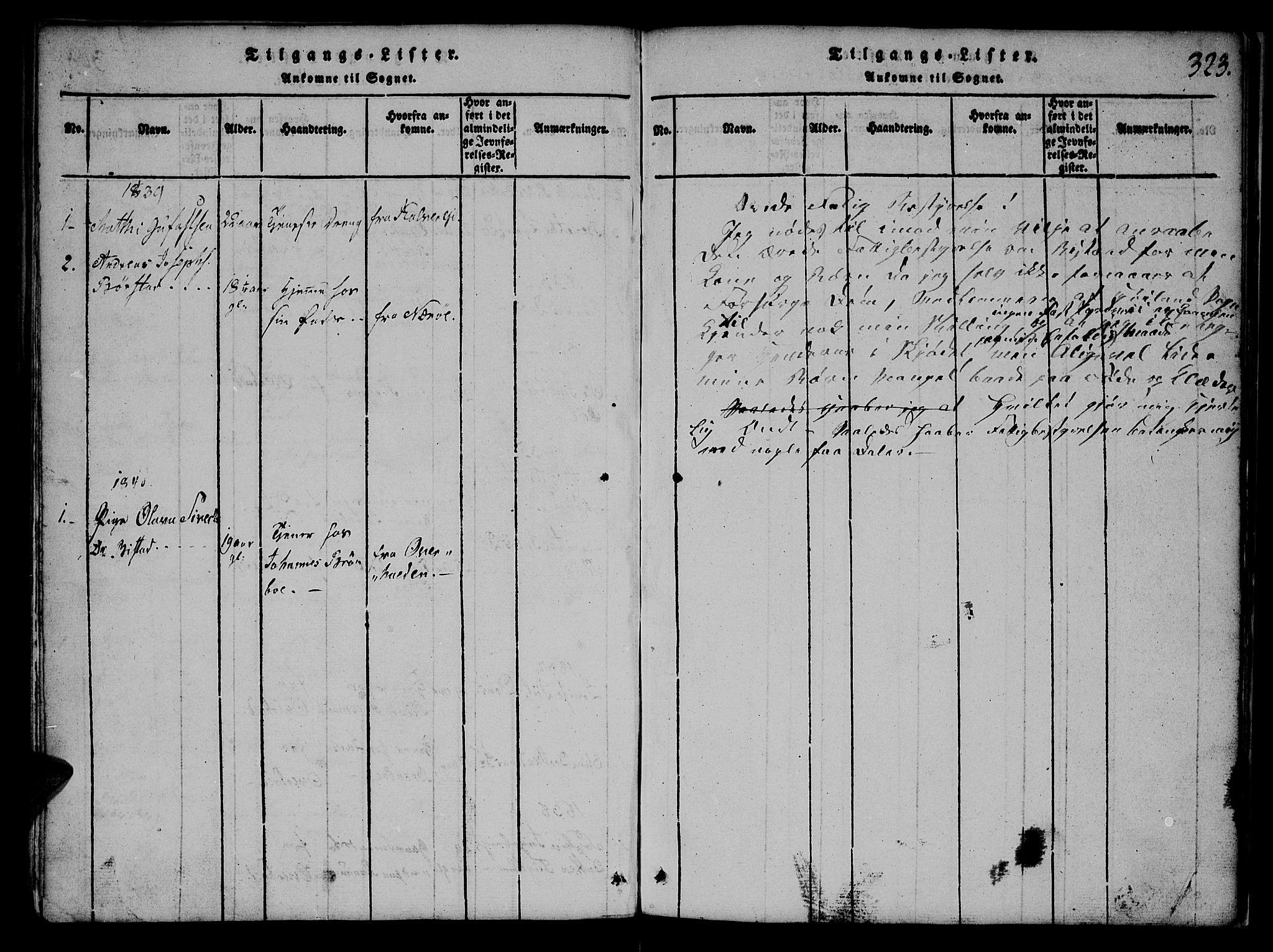 SAT, Ministerialprotokoller, klokkerbøker og fødselsregistre - Nord-Trøndelag, 765/L0562: Klokkerbok nr. 765C01, 1817-1851, s. 323
