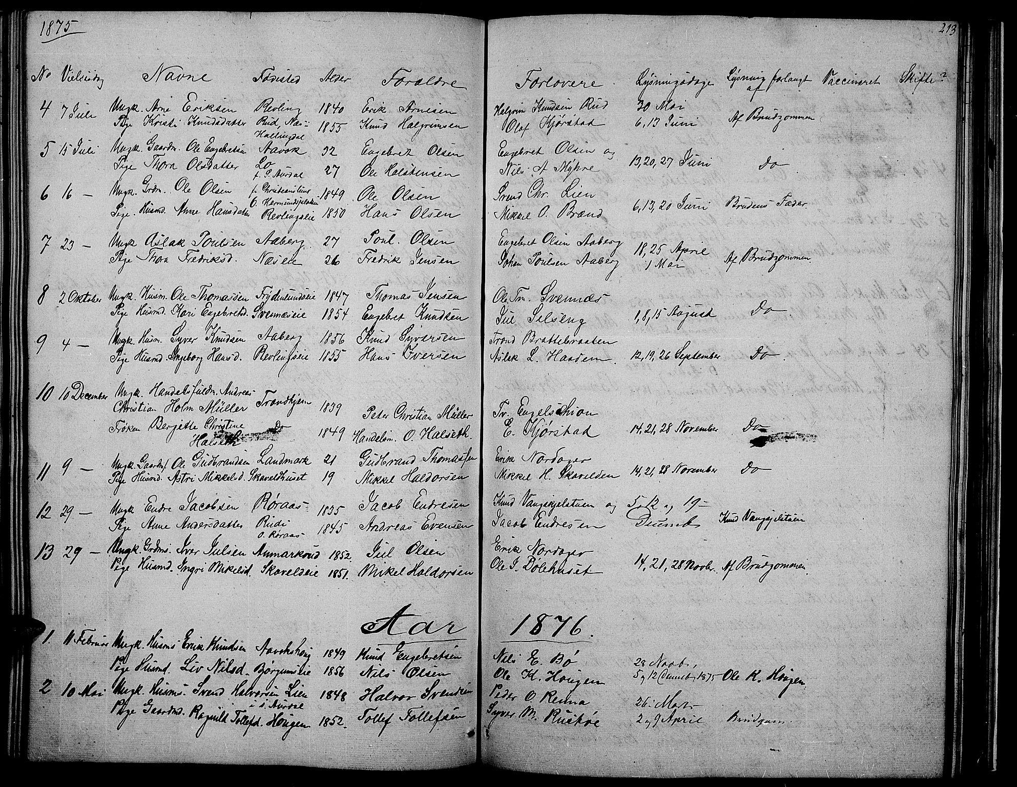 SAH, Nord-Aurdal prestekontor, Klokkerbok nr. 2, 1842-1877, s. 213