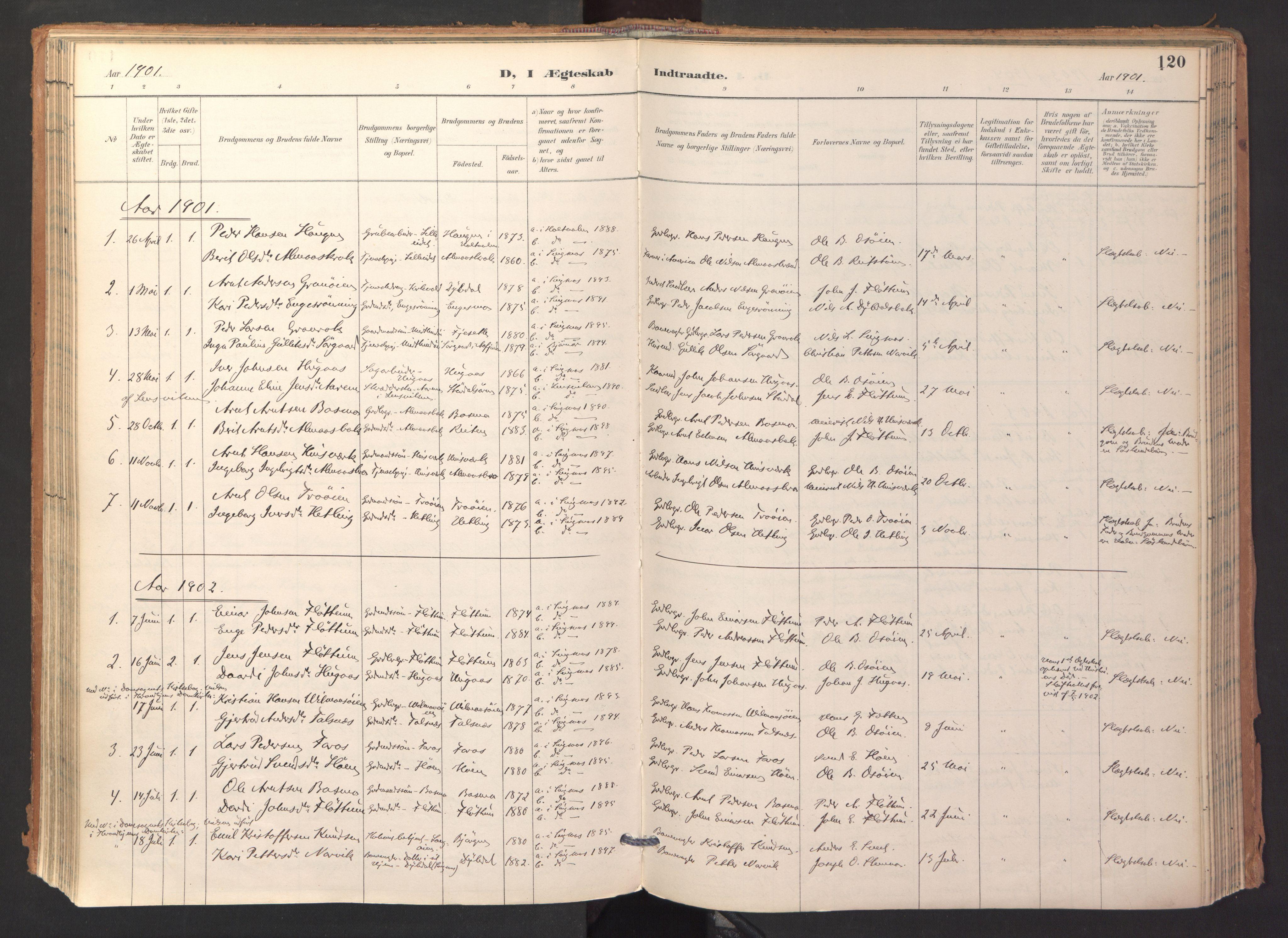 SAT, Ministerialprotokoller, klokkerbøker og fødselsregistre - Sør-Trøndelag, 688/L1025: Ministerialbok nr. 688A02, 1891-1909, s. 120