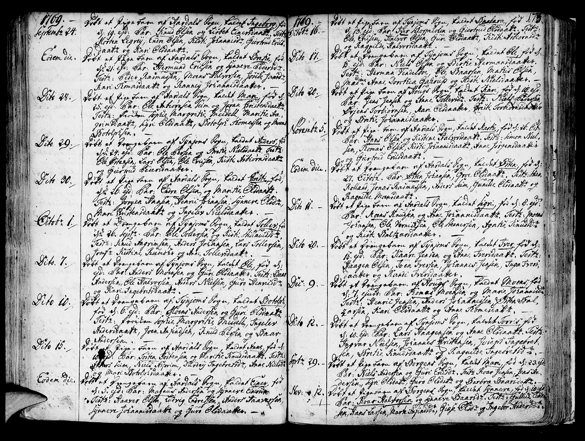 SAB, Lærdal sokneprestembete, Ministerialbok nr. A 2, 1752-1782, s. 173
