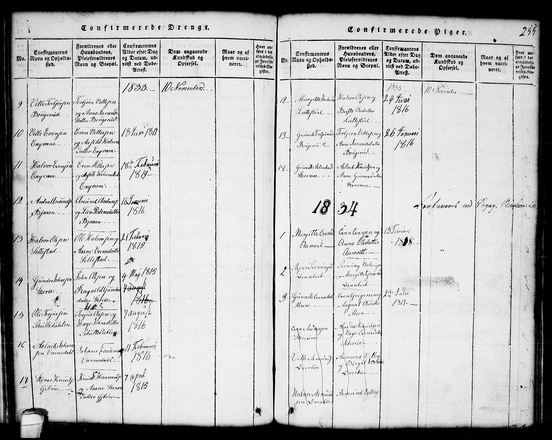 SAKO, Seljord kirkebøker, G/Gc/L0001: Klokkerbok nr. III 1, 1815-1849, s. 255