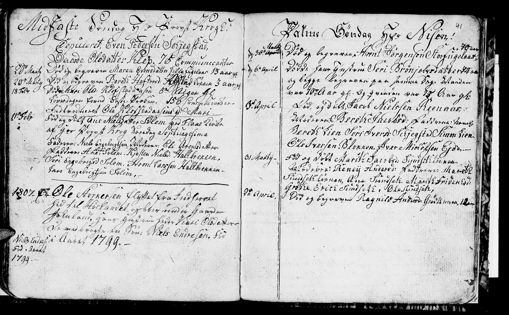 SAT, Ministerialprotokoller, klokkerbøker og fødselsregistre - Sør-Trøndelag, 694/L1129: Klokkerbok nr. 694C01, 1793-1815, s. 41