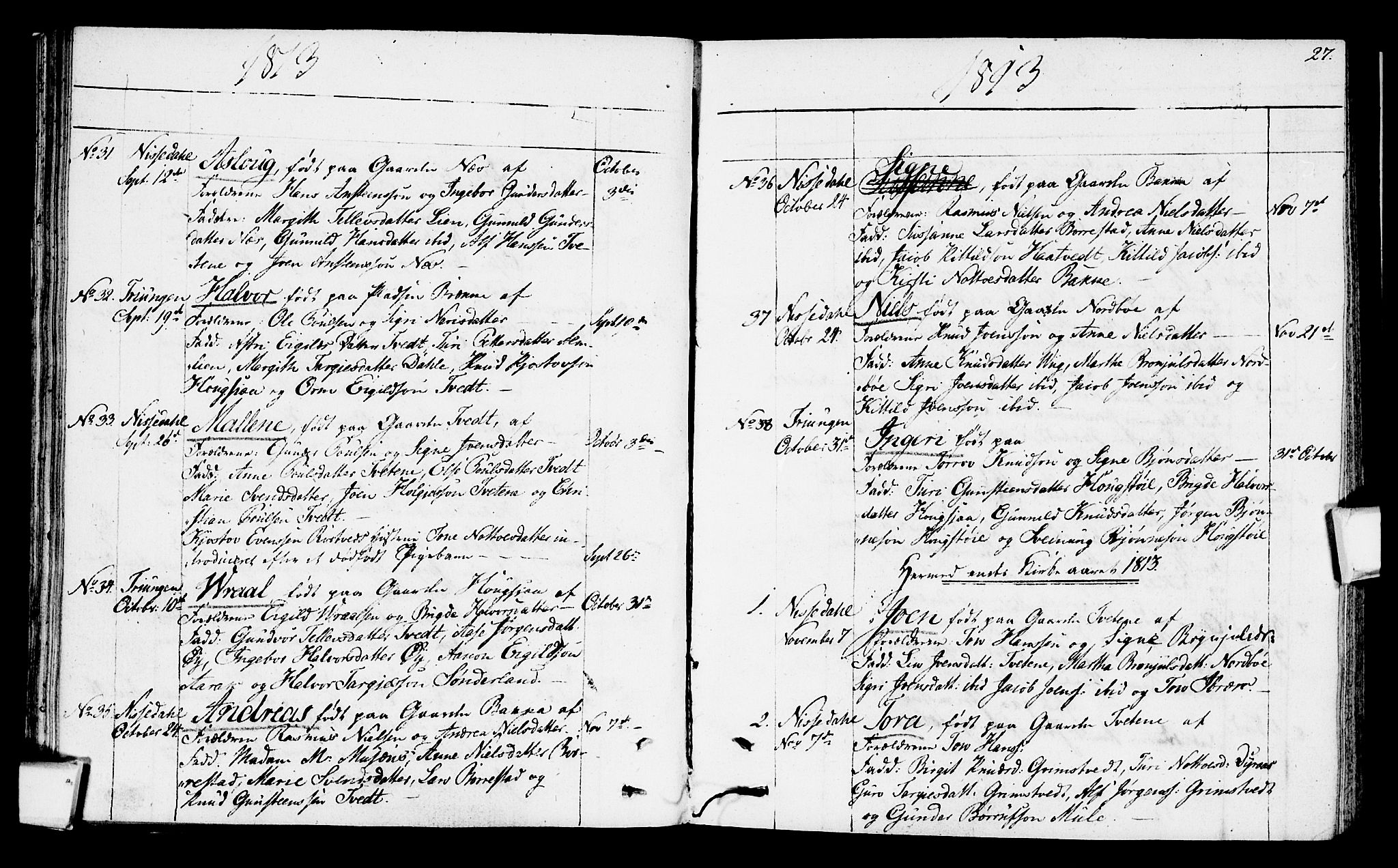 SAKO, Nissedal kirkebøker, F/Fa/L0001: Ministerialbok nr. I 1, 1811-1814, s. 27