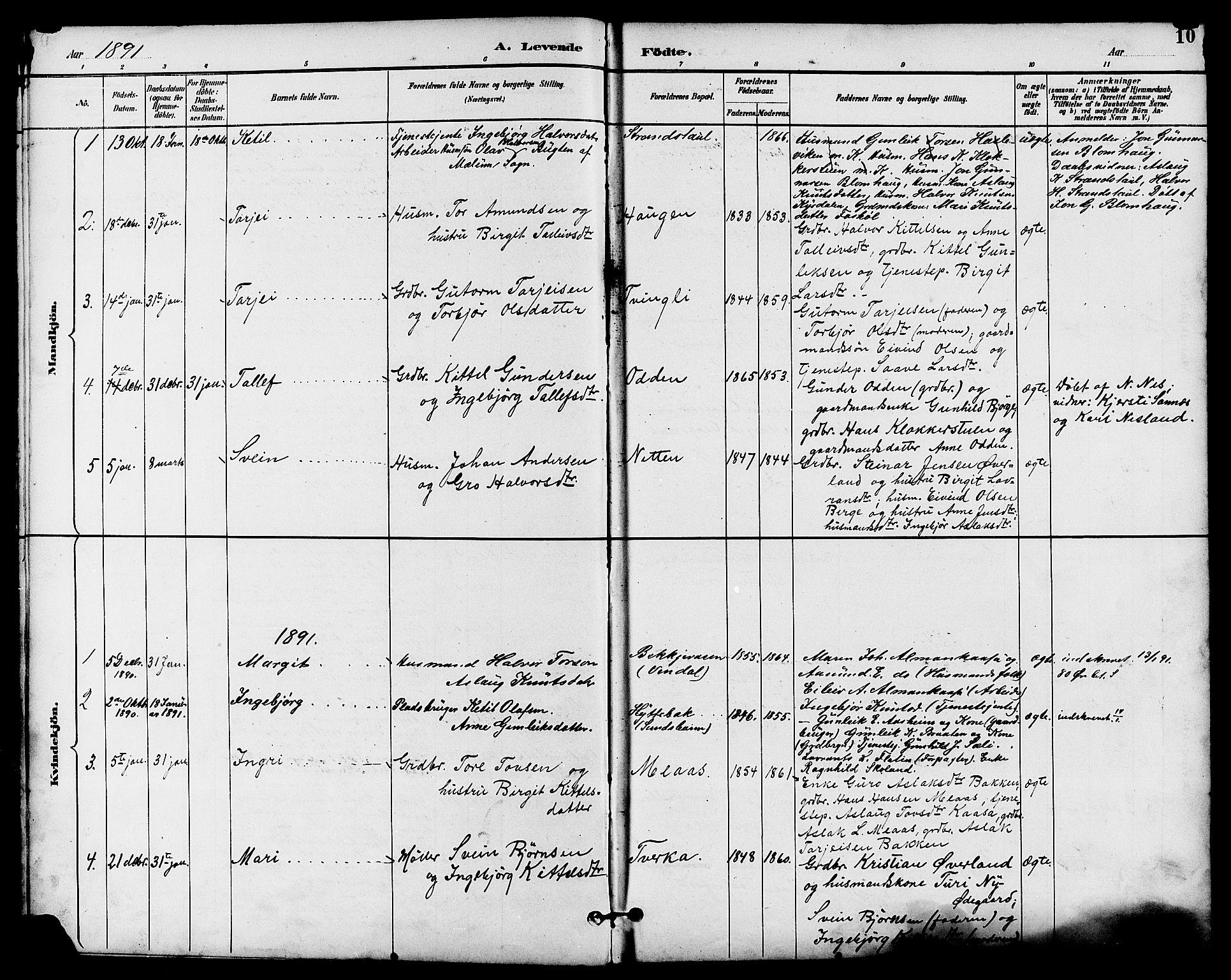 SAKO, Seljord kirkebøker, G/Ga/L0005: Klokkerbok nr. I 5, 1887-1914, s. 10