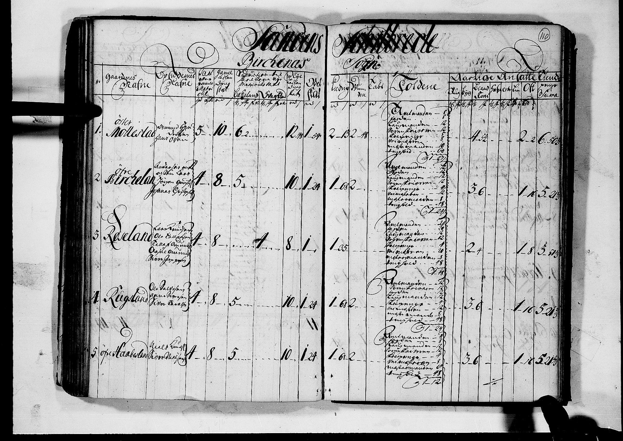 RA, Rentekammeret inntil 1814, Realistisk ordnet avdeling, N/Nb/Nbf/L0124: Nedenes matrikkelprotokoll, 1723, s. 109b-110a