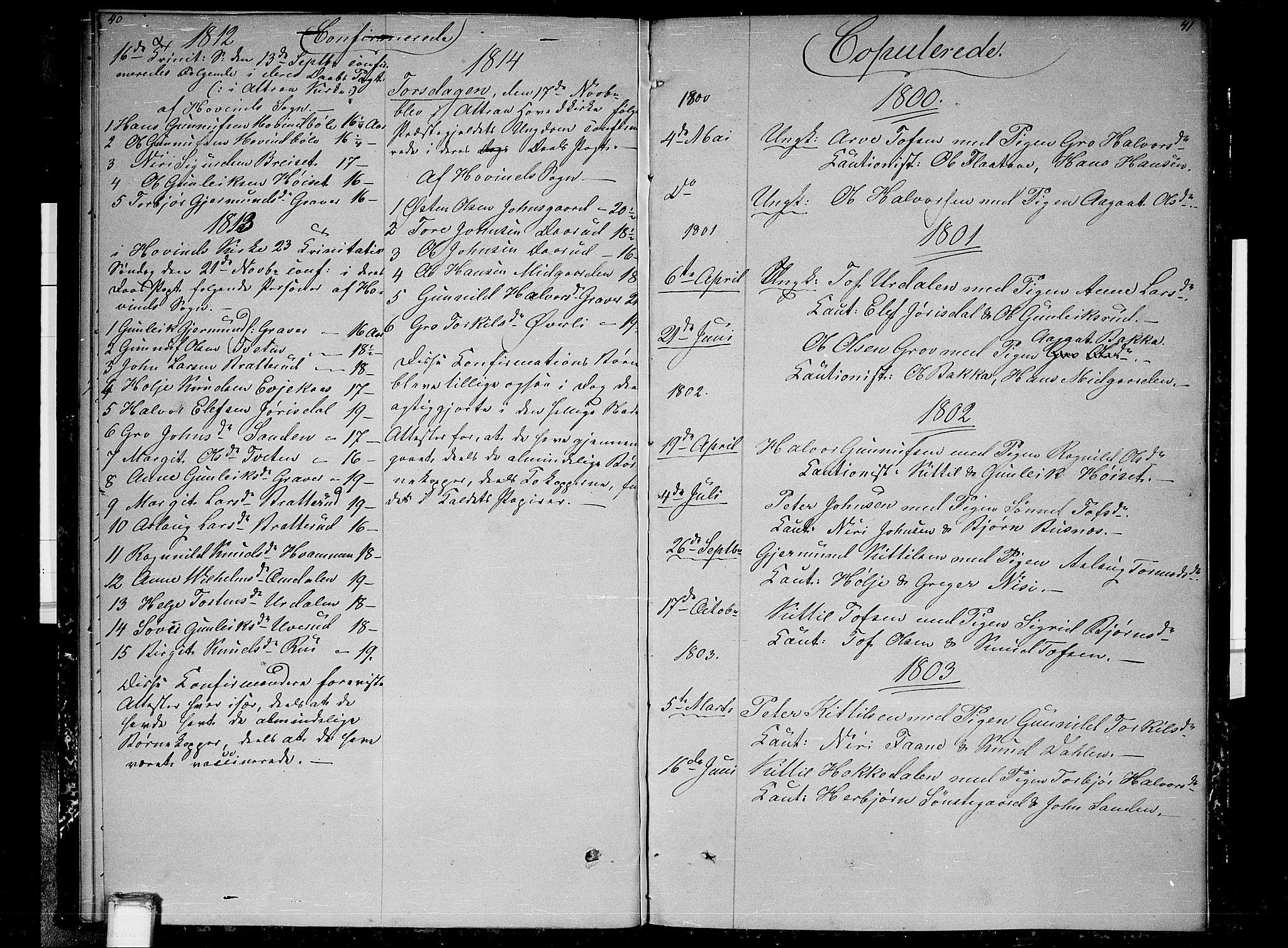 SAKO, Gransherad kirkebøker, F/Fb/L0001: Ministerialbok nr. II 1, 1800-1814, s. 40-41