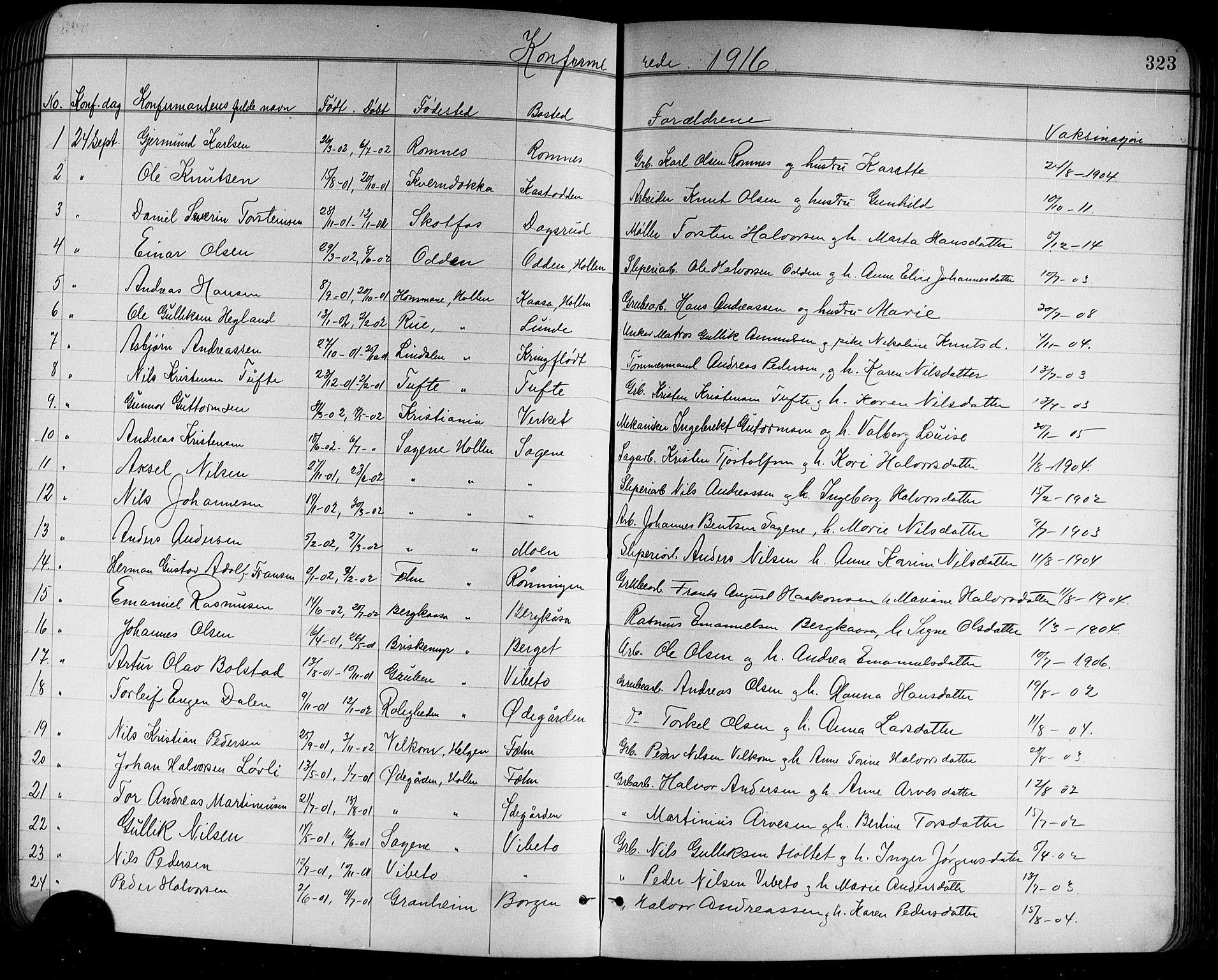 SAKO, Holla kirkebøker, G/Ga/L0005: Klokkerbok nr. I 5, 1891-1917, s. 323