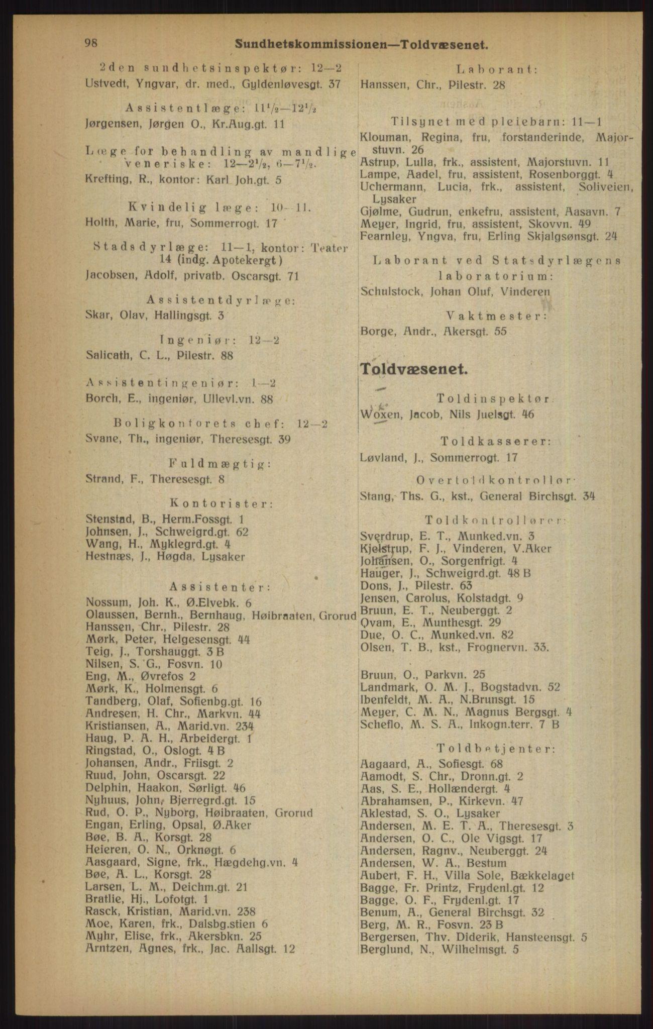 RA, Kristiania adressebok (publikasjon)*, 1915, s. 98