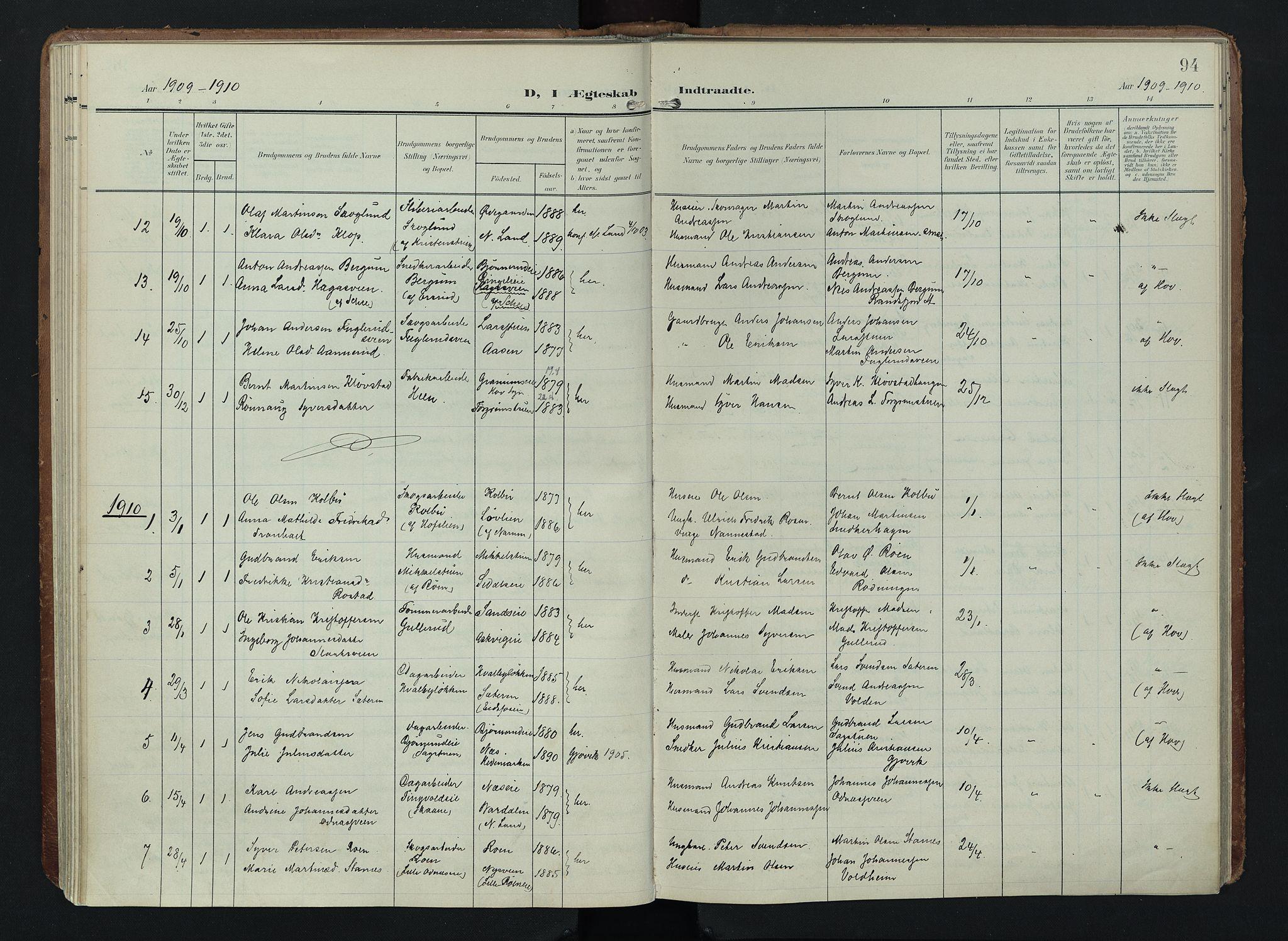 SAH, Søndre Land prestekontor, K/L0005: Ministerialbok nr. 5, 1905-1914, s. 94