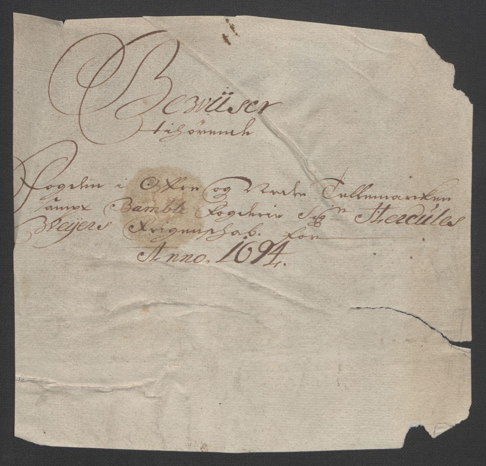 RA, Rentekammeret inntil 1814, Reviderte regnskaper, Fogderegnskap, R36/L2092: Fogderegnskap Øvre og Nedre Telemark og Bamble, 1694, s. 22