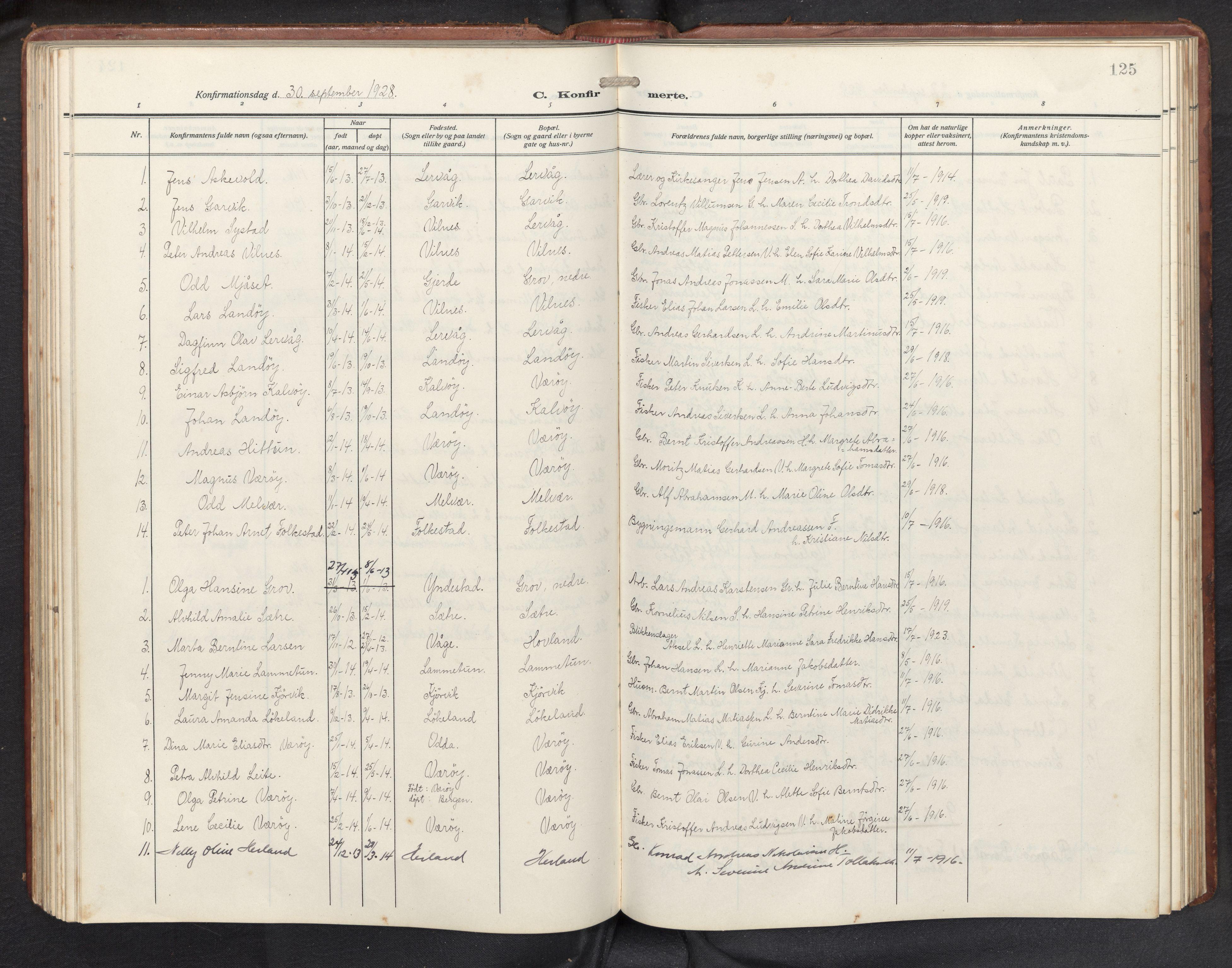 SAB, Askvoll sokneprestembete, H/Hab/Habb/L0002: Klokkerbok nr. B 2, 1910-1947, s. 124b-125a