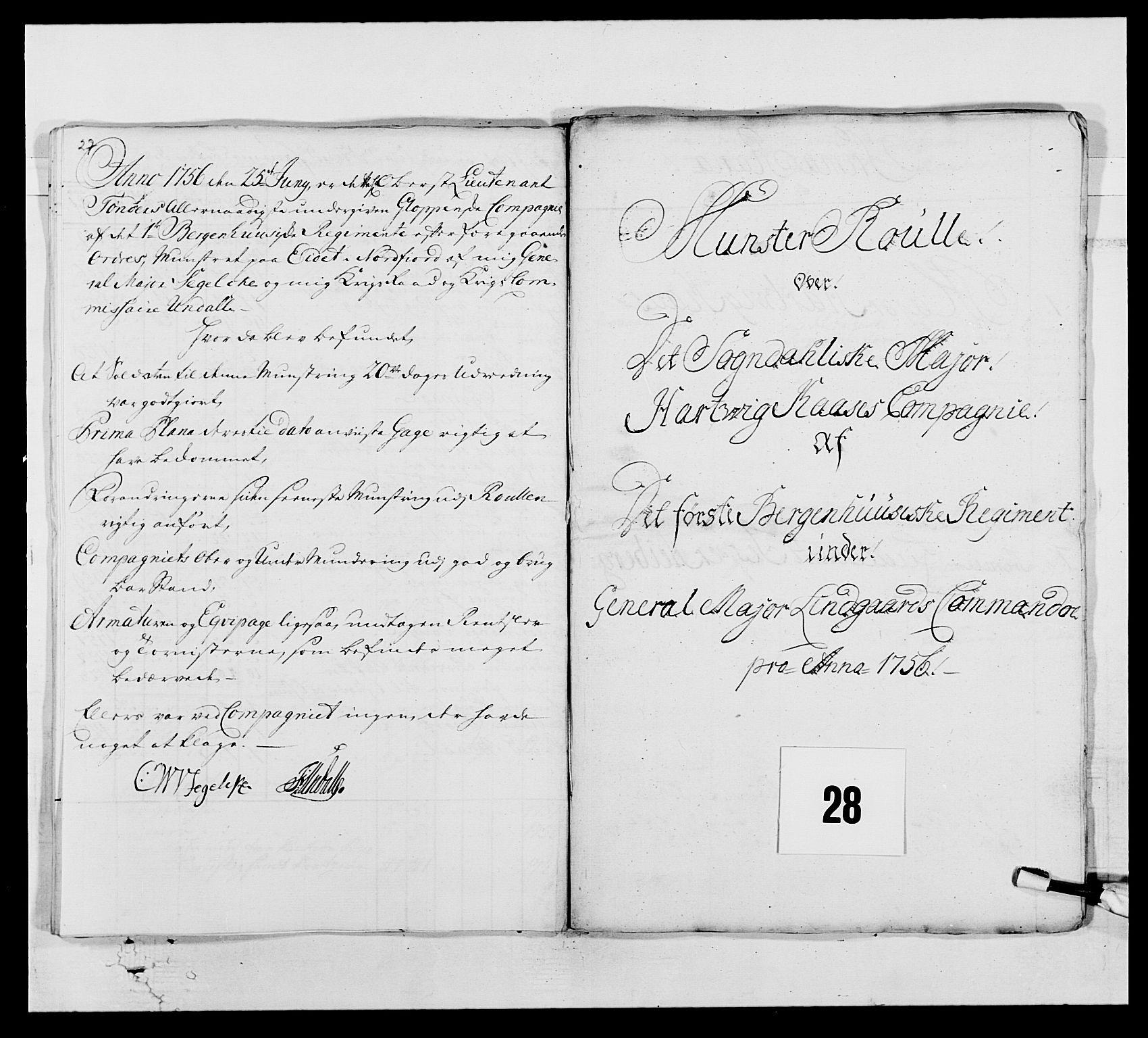 RA, Kommanderende general (KG I) med Det norske krigsdirektorium, E/Ea/L0517: 1. Bergenhusiske regiment, 1742-1756, s. 421