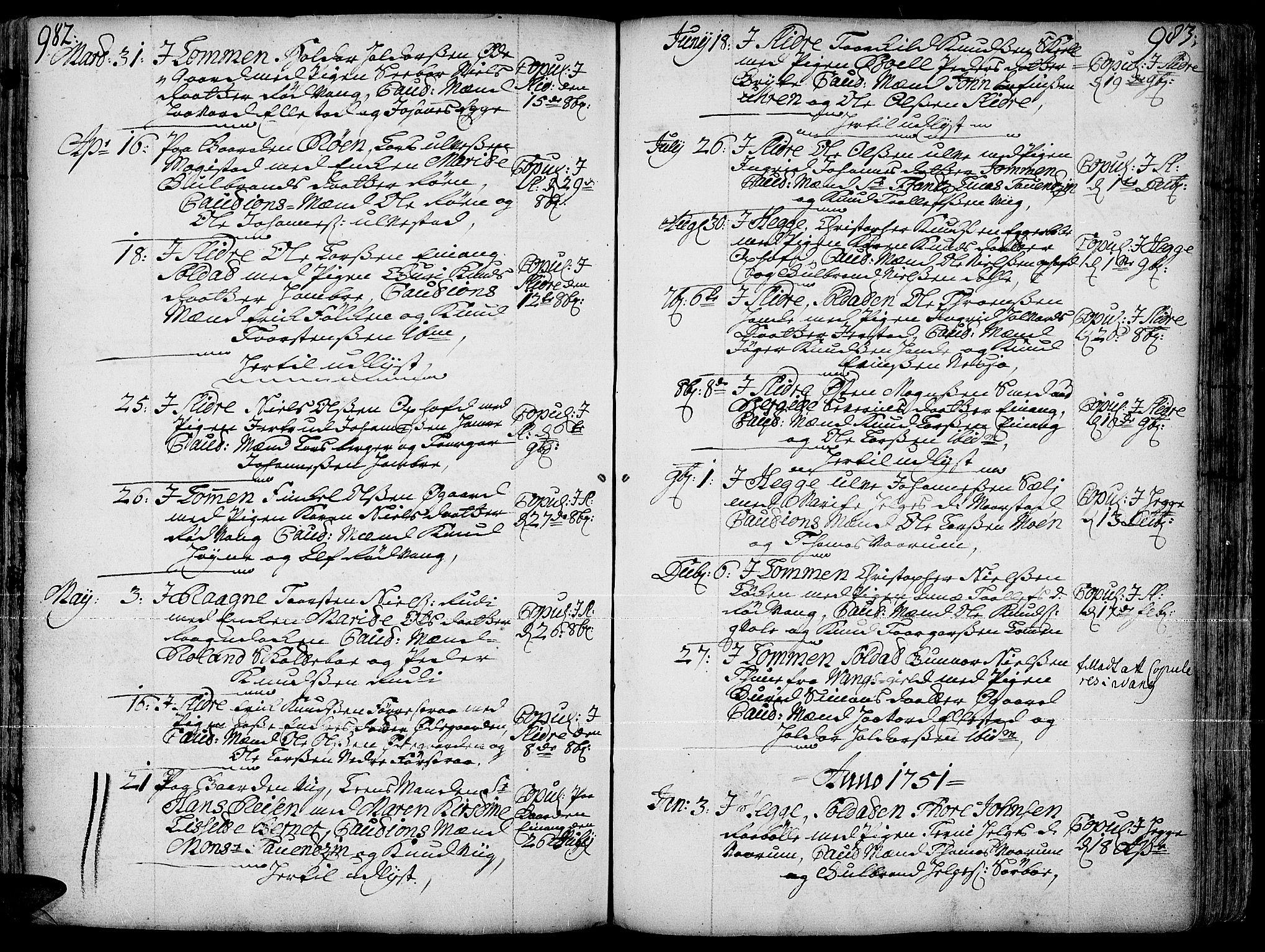 SAH, Slidre prestekontor, Ministerialbok nr. 1, 1724-1814, s. 982-983