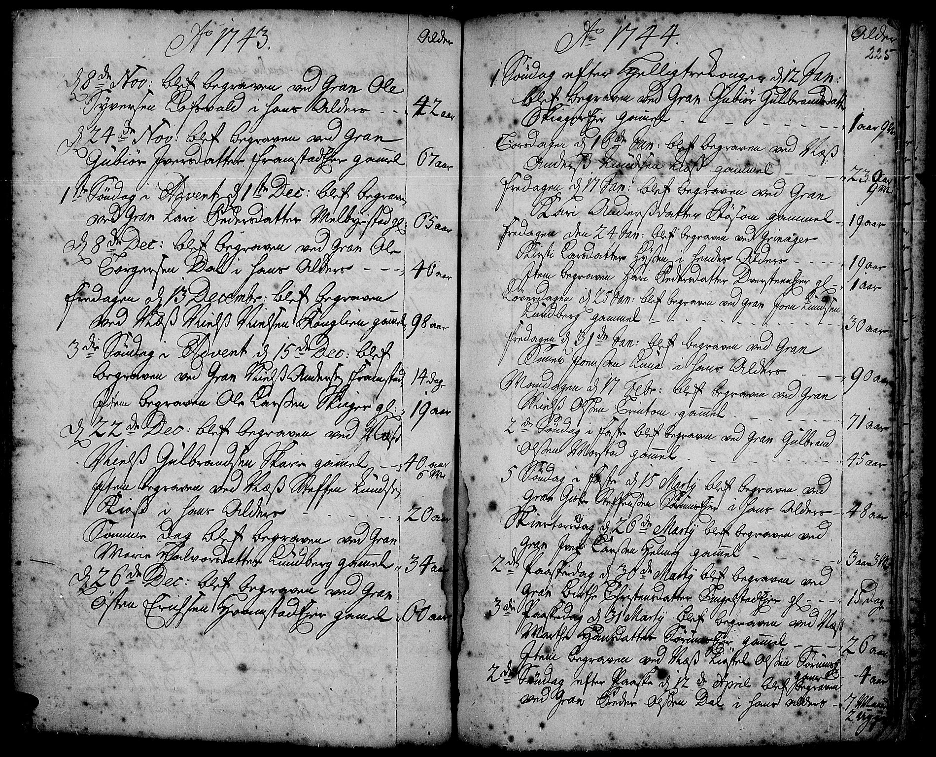 SAH, Gran prestekontor, Ministerialbok nr. 2, 1732-1744, s. 225
