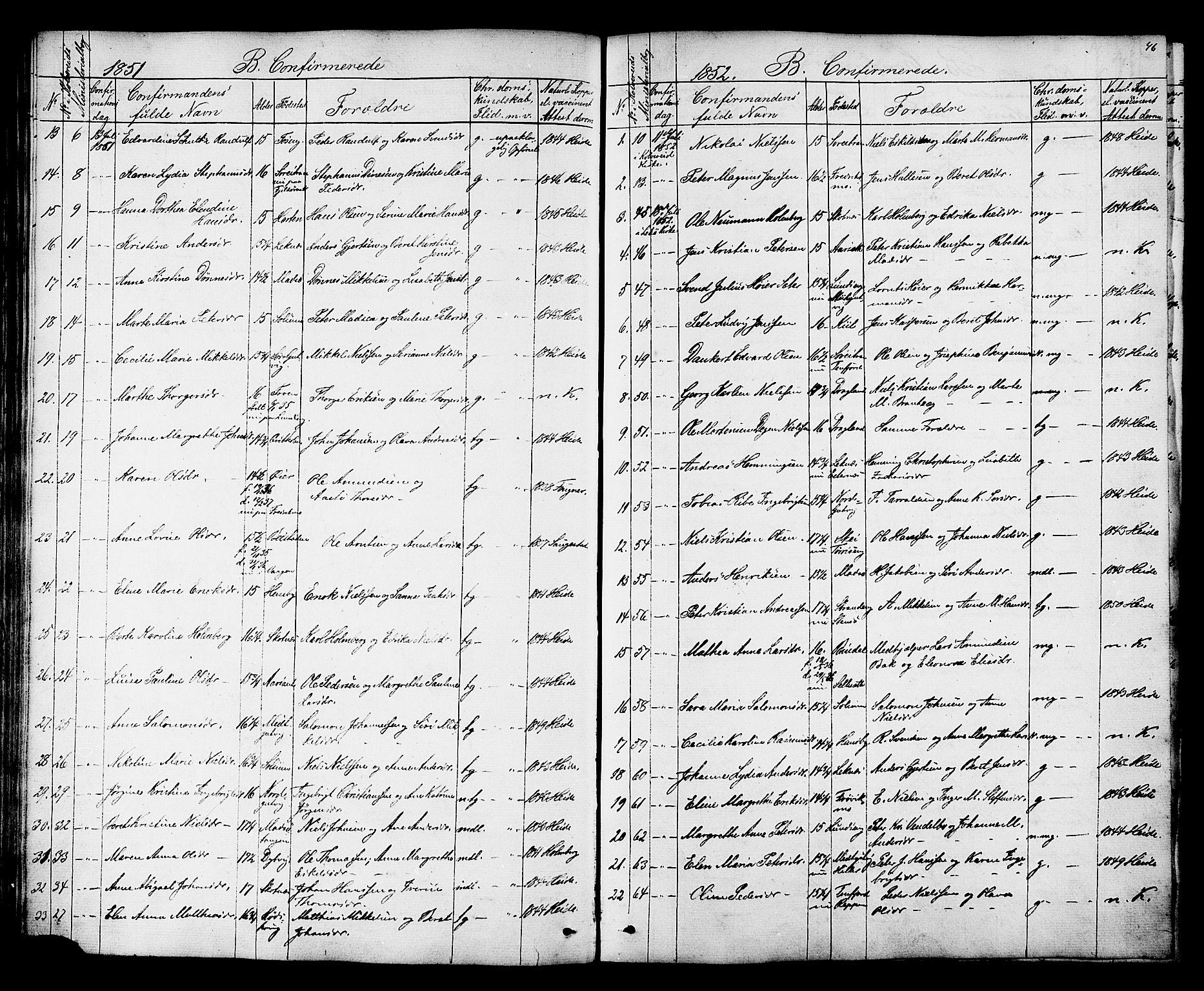 SAT, Ministerialprotokoller, klokkerbøker og fødselsregistre - Nord-Trøndelag, 788/L0695: Ministerialbok nr. 788A02, 1843-1862, s. 46