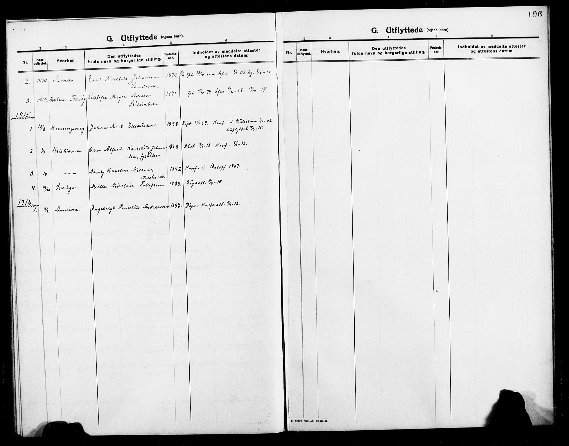 SATØ, Balsfjord sokneprestembete, Klokkerbok nr. 4, 1910-1926, s. 196