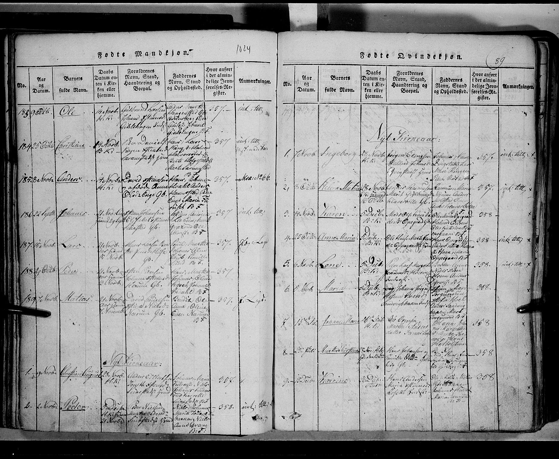 SAH, Toten prestekontor, Klokkerbok nr. 2, 1820-1827, s. 89