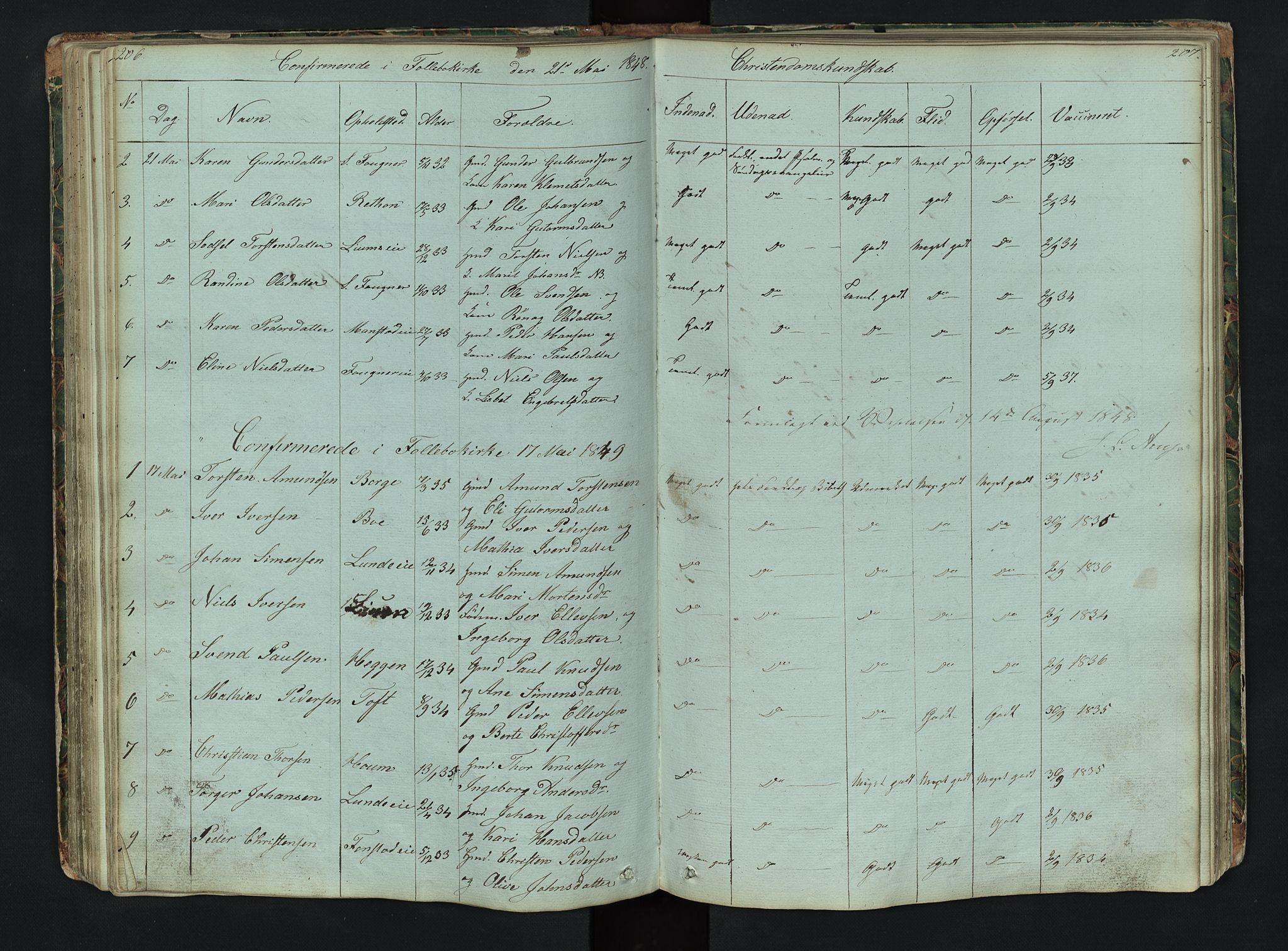 SAH, Gausdal prestekontor, Klokkerbok nr. 6, 1846-1893, s. 206-207