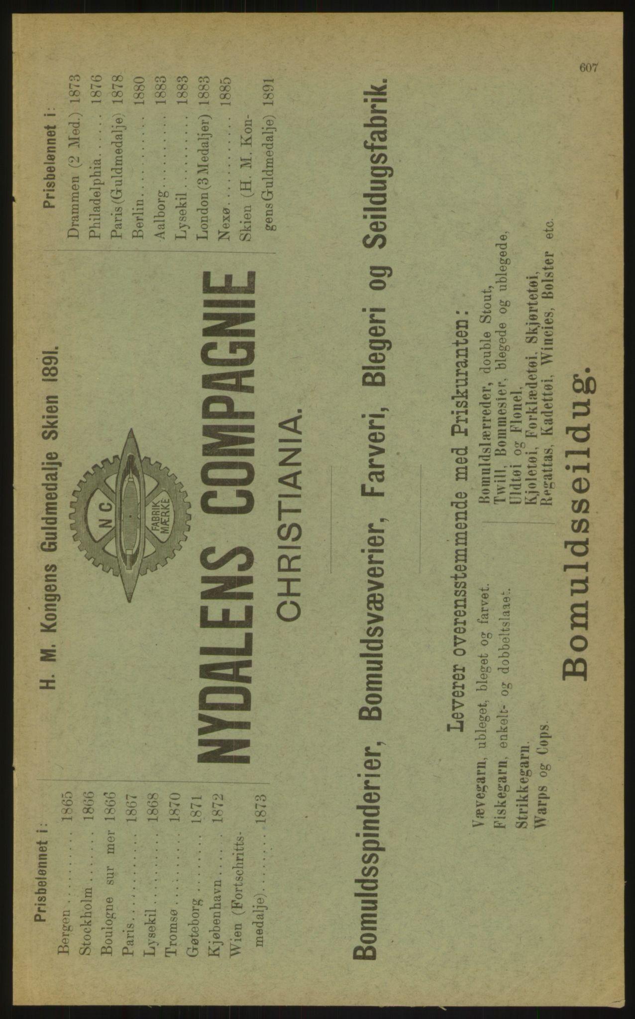 PUBL, Kristiania/Oslo adressebok, 1897, s. 607