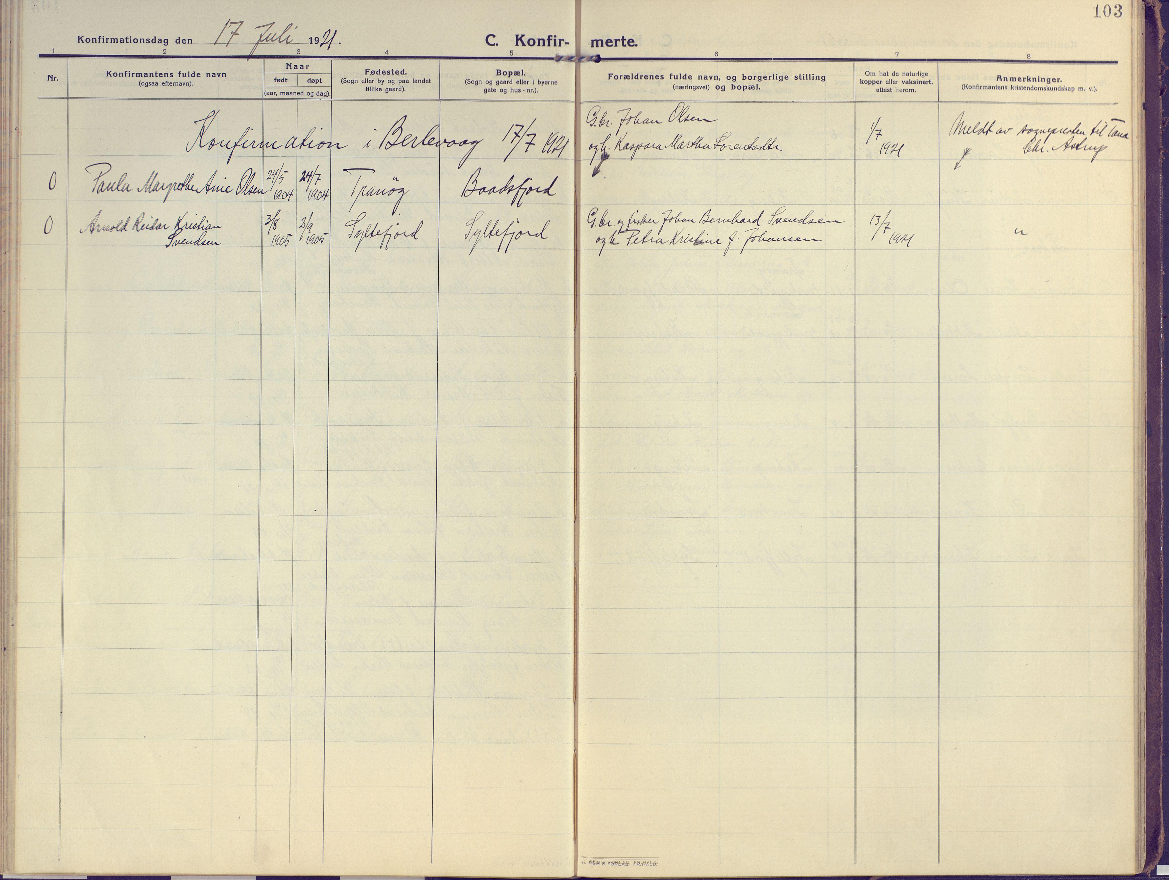 SATØ, Vardø sokneprestkontor, H/Ha/L0013kirke: Ministerialbok nr. 13, 1912-1928, s. 103