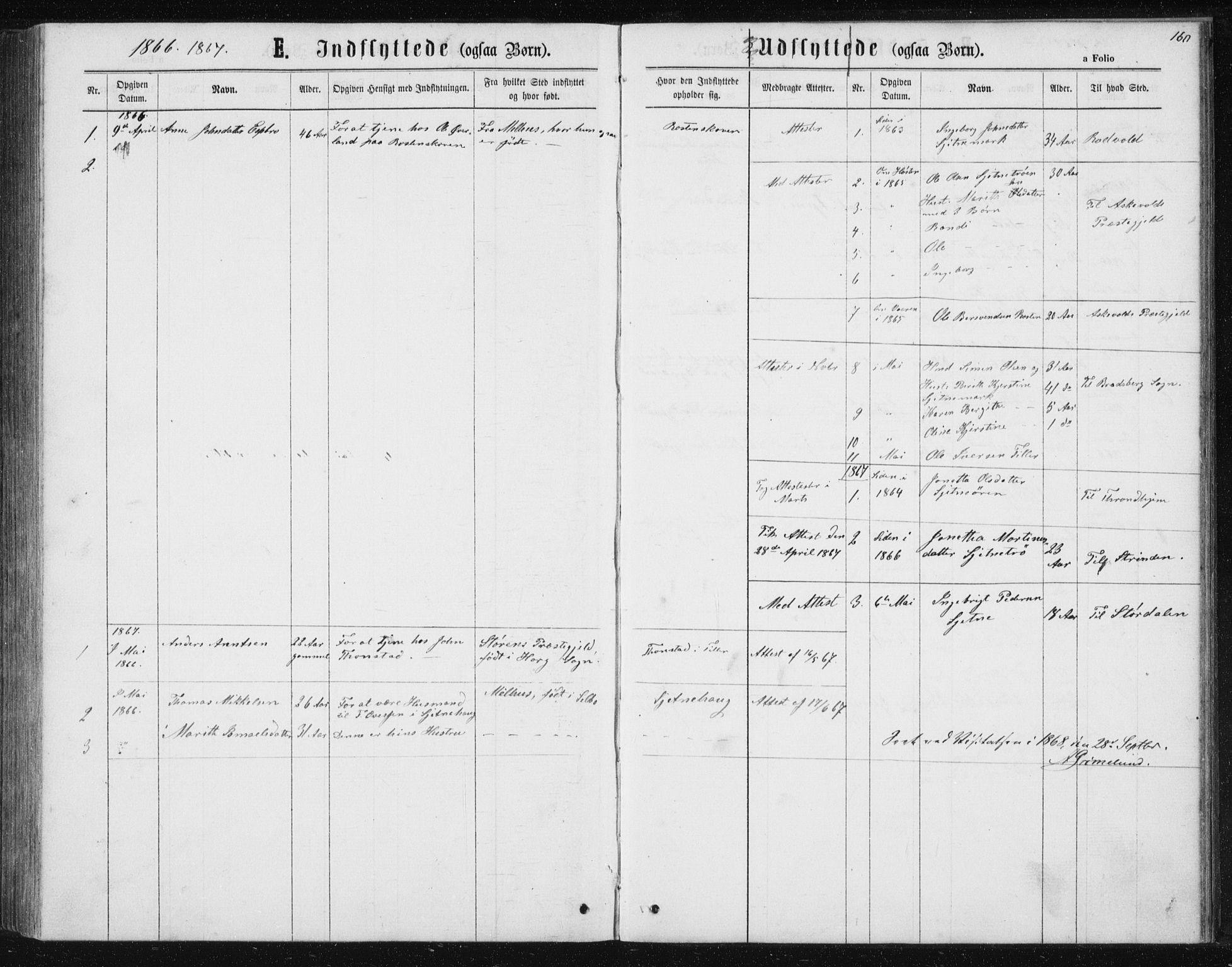 SAT, Ministerialprotokoller, klokkerbøker og fødselsregistre - Sør-Trøndelag, 621/L0459: Klokkerbok nr. 621C02, 1866-1895, s. 160