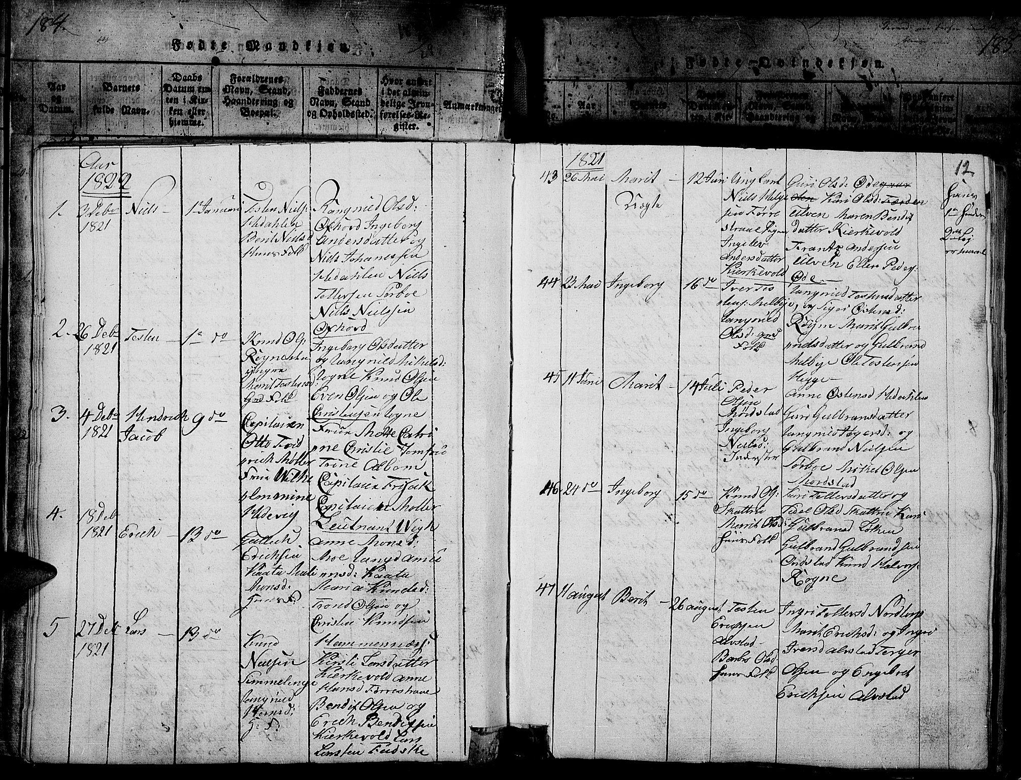 SAH, Slidre prestekontor, Ministerialbok nr. 2, 1814-1830, s. 184l