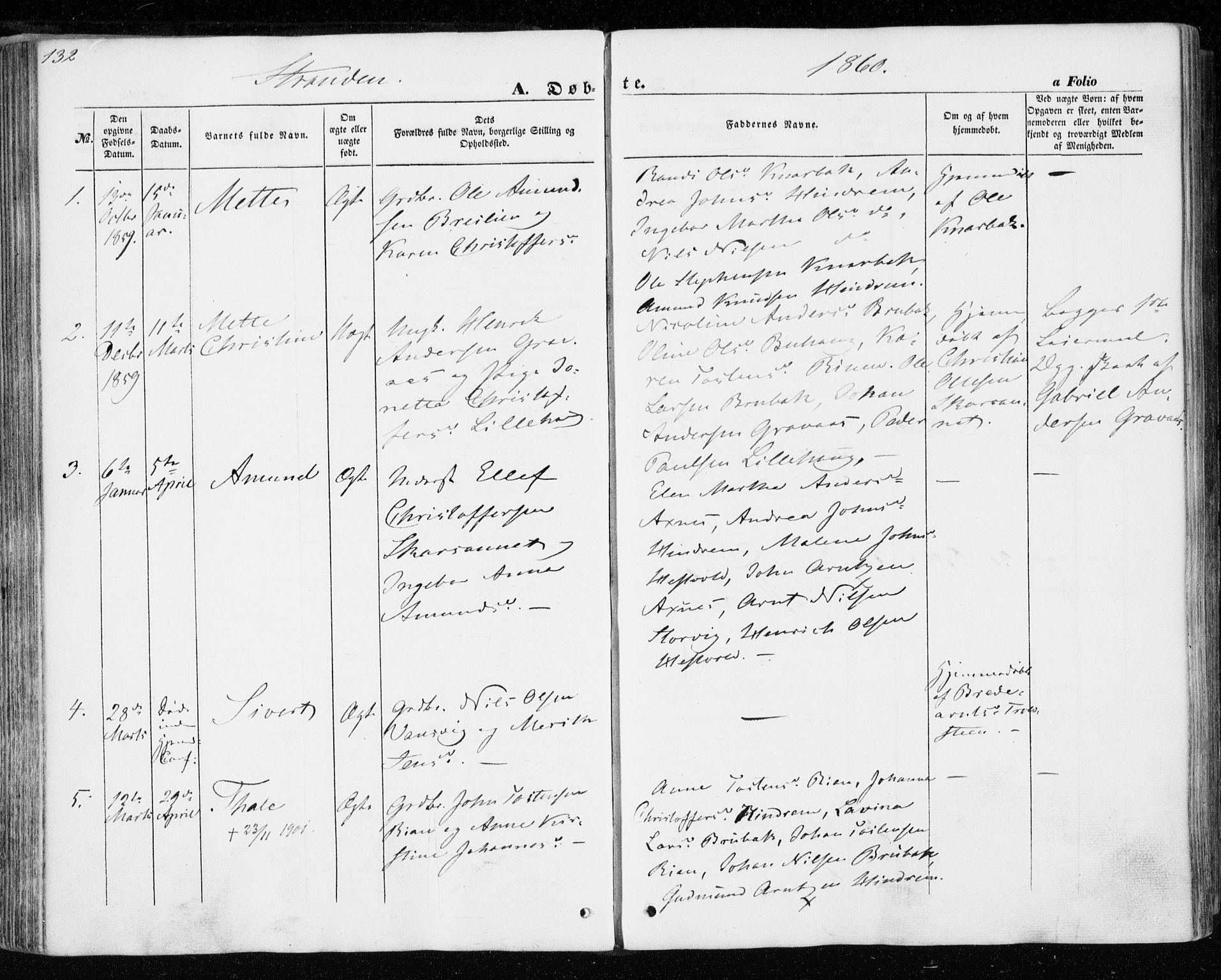SAT, Ministerialprotokoller, klokkerbøker og fødselsregistre - Nord-Trøndelag, 701/L0008: Ministerialbok nr. 701A08 /2, 1854-1863, s. 132