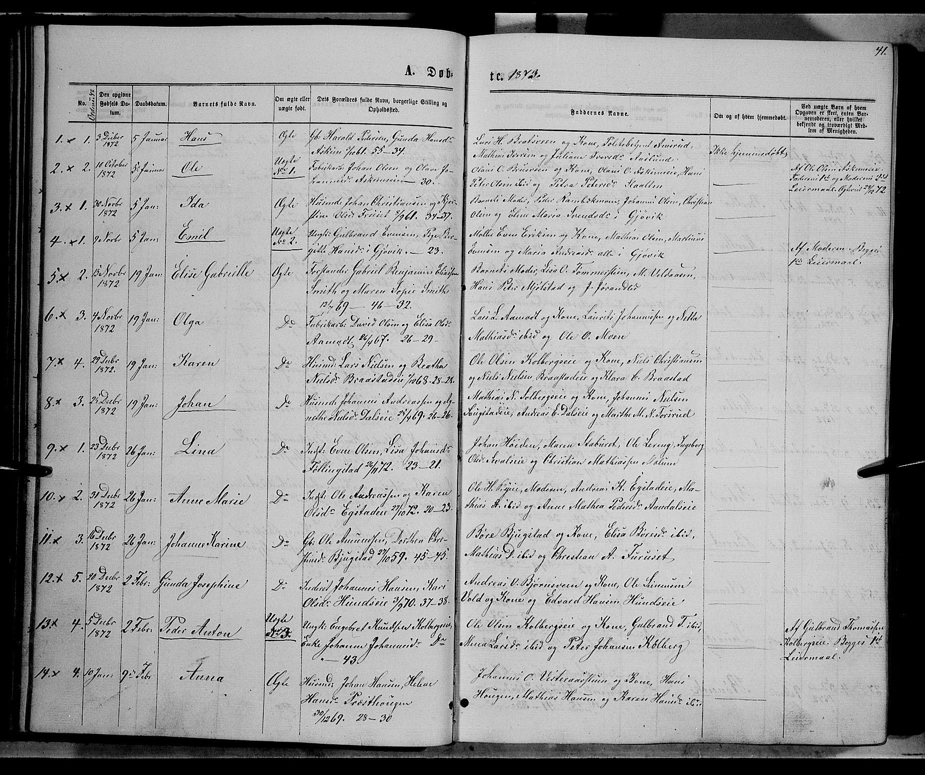 SAH, Vardal prestekontor, H/Ha/Hab/L0006: Klokkerbok nr. 6, 1869-1881, s. 41