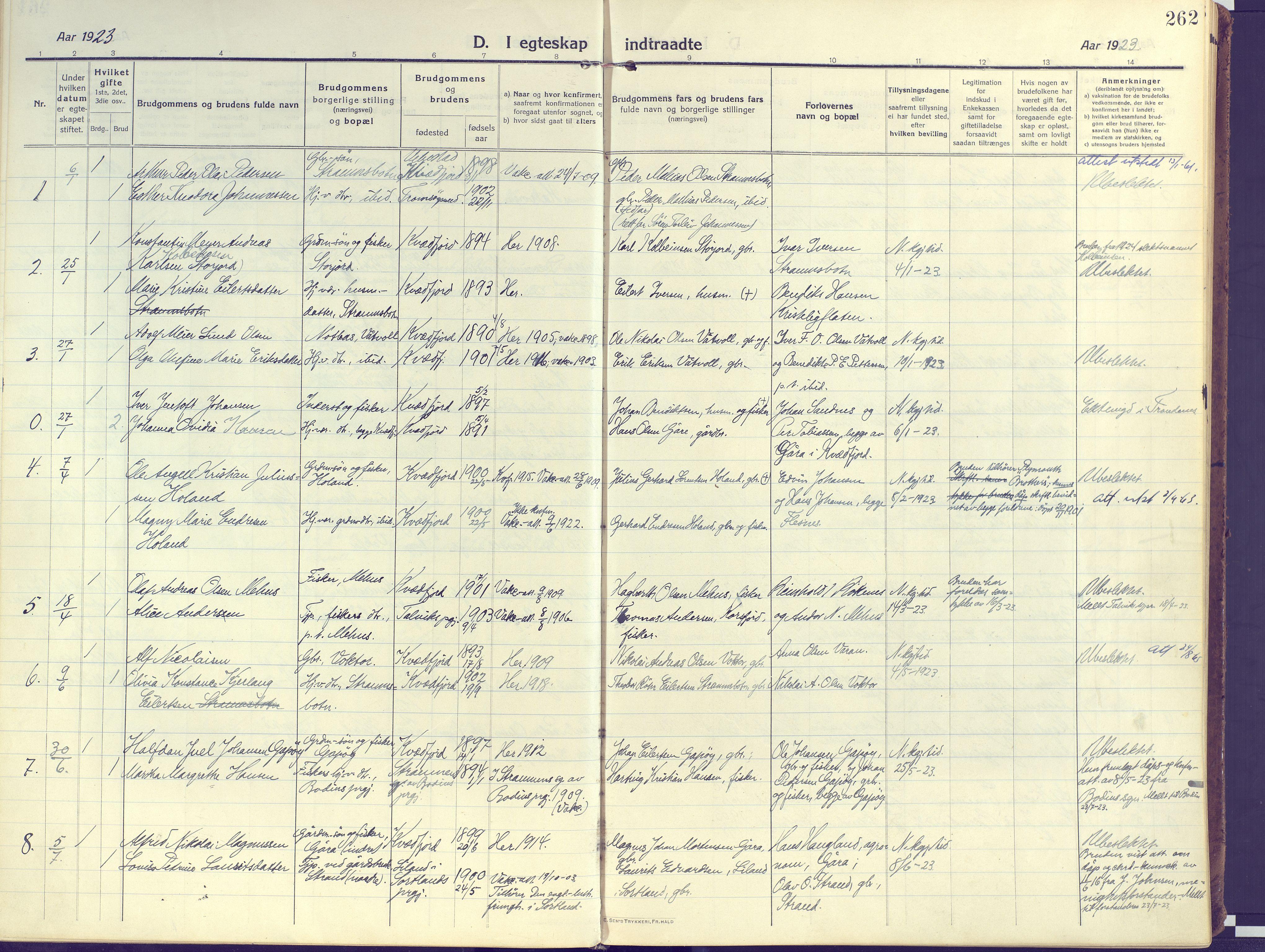 SATØ, Kvæfjord sokneprestkontor, G/Ga/Gaa/L0007kirke: Ministerialbok nr. 7, 1915-1931, s. 262