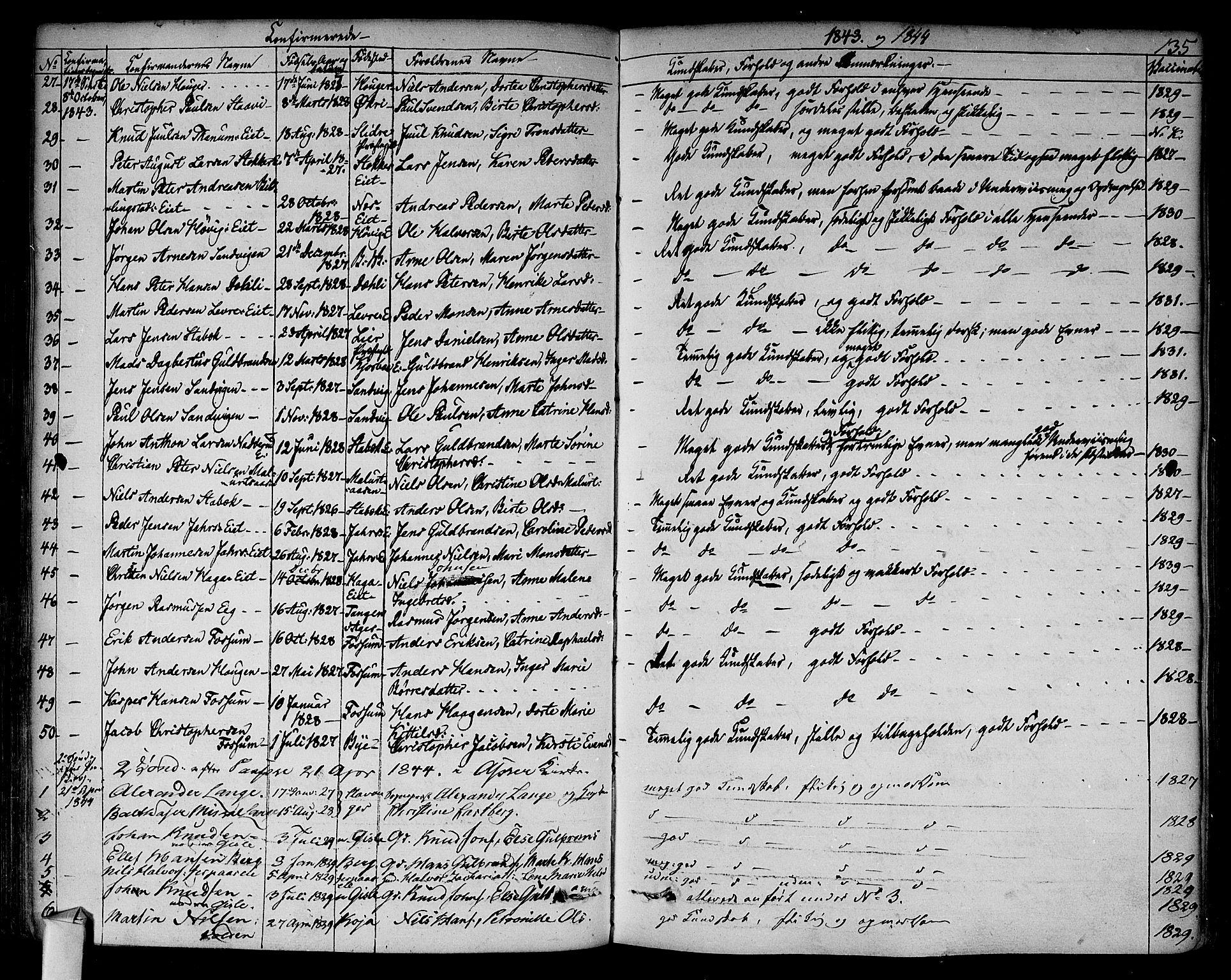 SAO, Asker prestekontor Kirkebøker, F/Fa/L0009: Ministerialbok nr. I 9, 1825-1878, s. 135