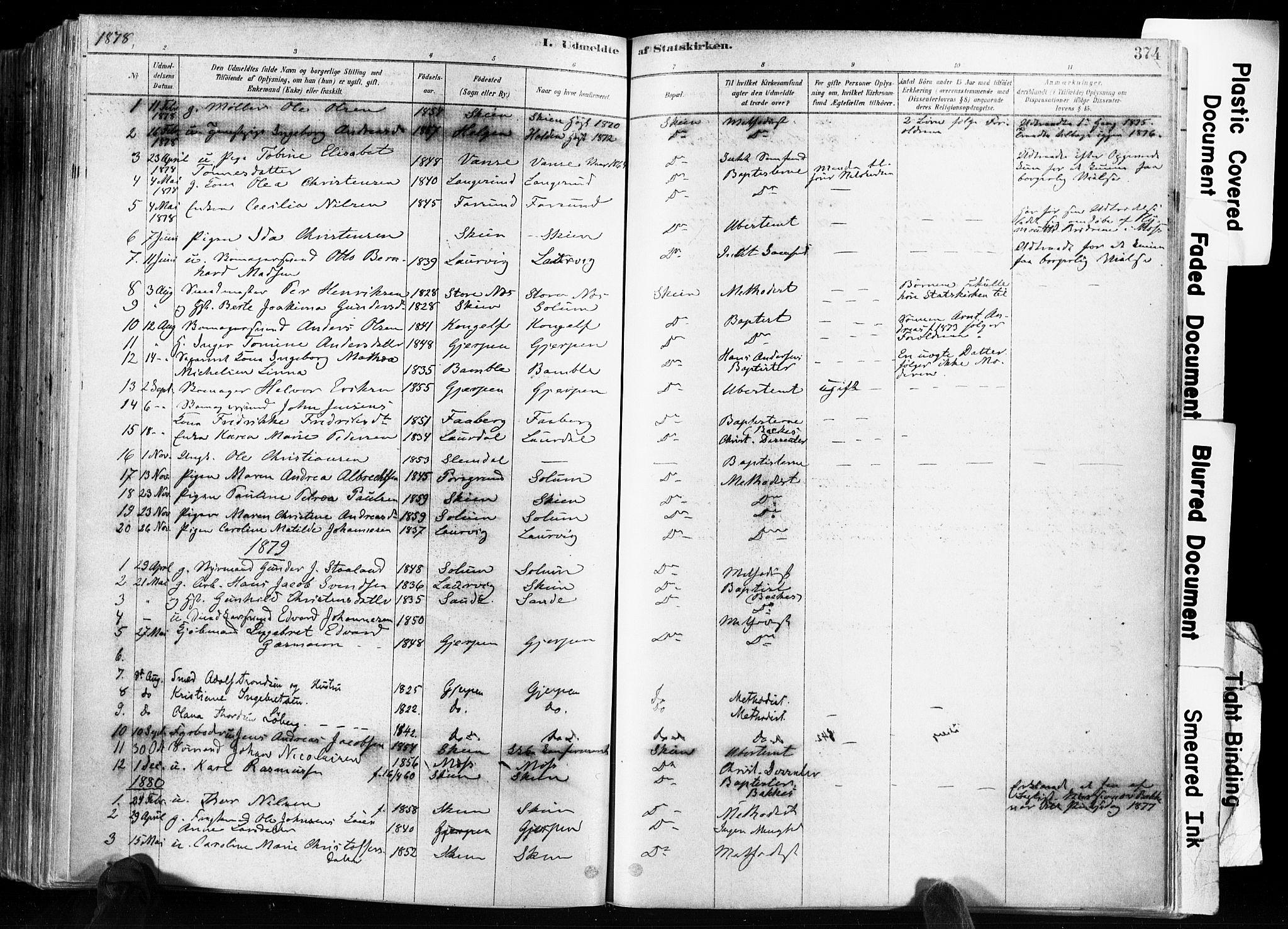 SAKO, Skien kirkebøker, F/Fa/L0009: Ministerialbok nr. 9, 1878-1890, s. 374