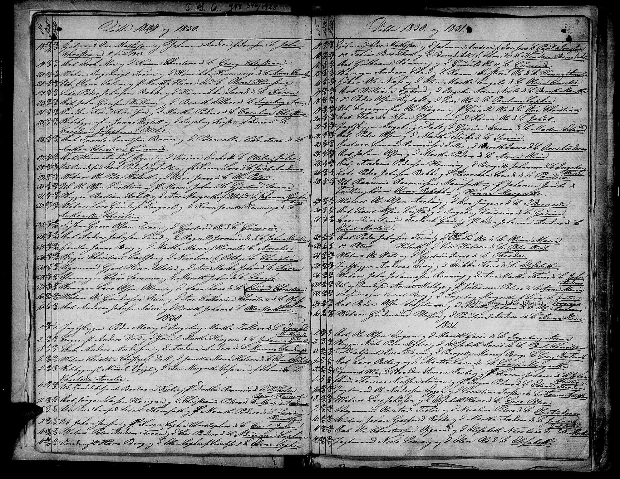 SAT, Ministerialprotokoller, klokkerbøker og fødselsregistre - Sør-Trøndelag, 604/L0182: Ministerialbok nr. 604A03, 1818-1850, s. 7
