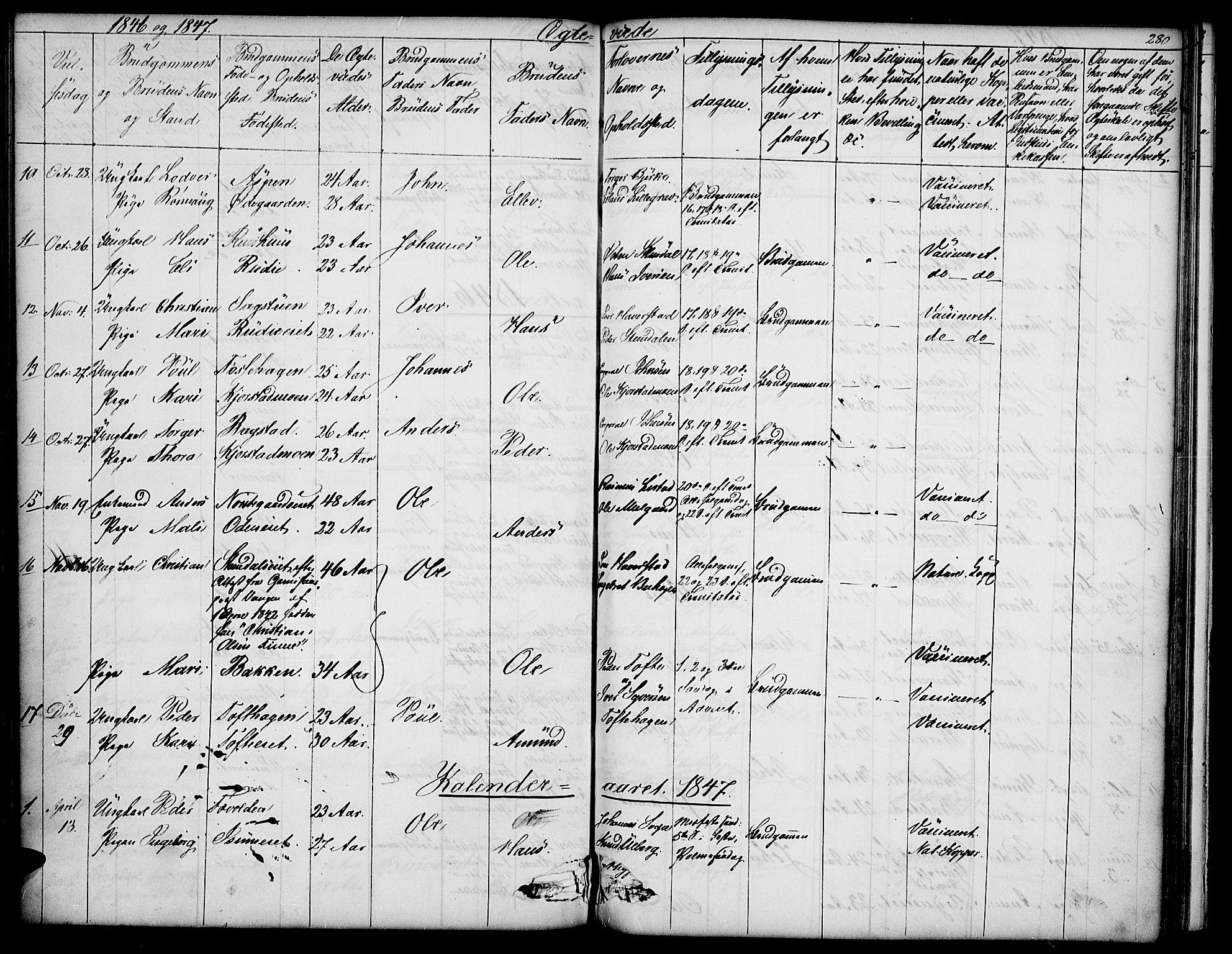 SAH, Sør-Fron prestekontor, H/Ha/Hab/L0001: Klokkerbok nr. 1, 1844-1863, s. 280