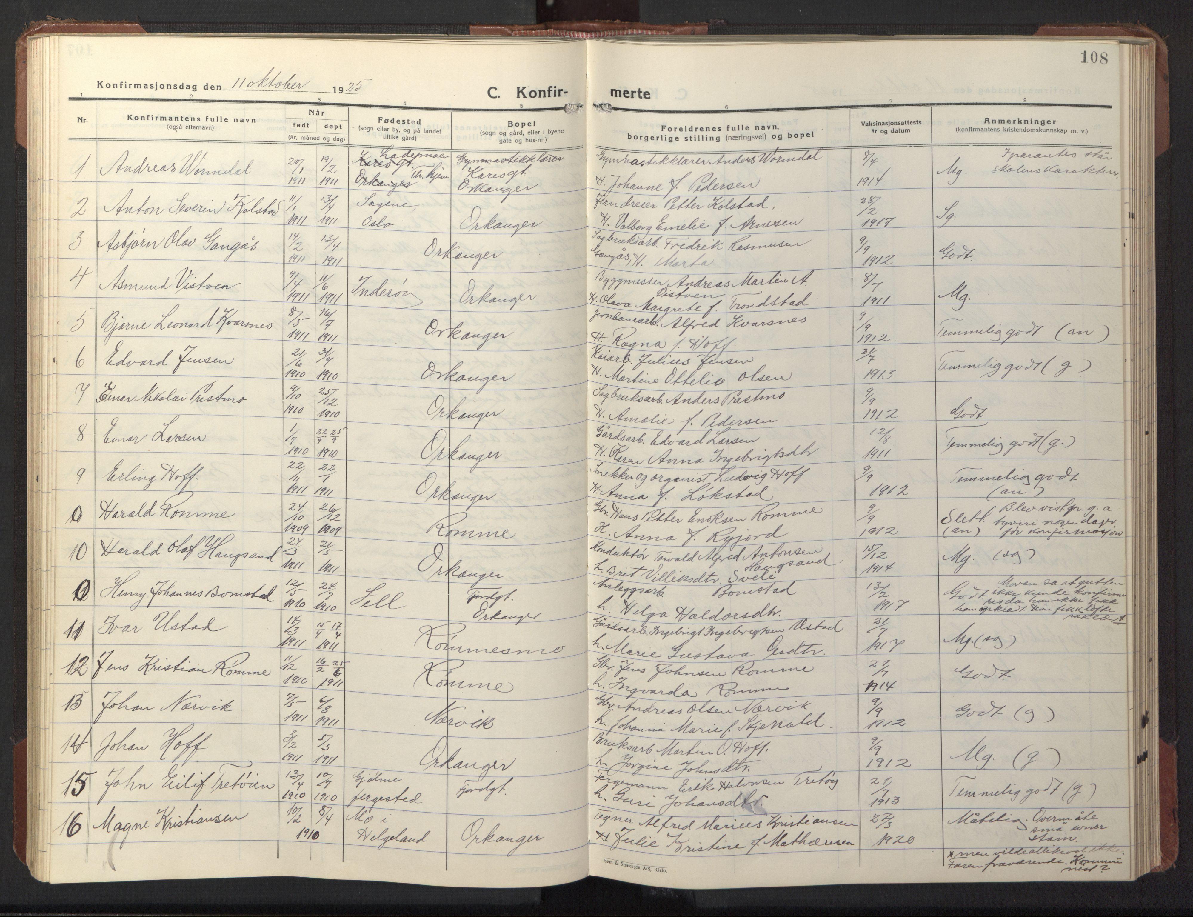 SAT, Ministerialprotokoller, klokkerbøker og fødselsregistre - Sør-Trøndelag, 669/L0832: Klokkerbok nr. 669C02, 1925-1953, s. 108