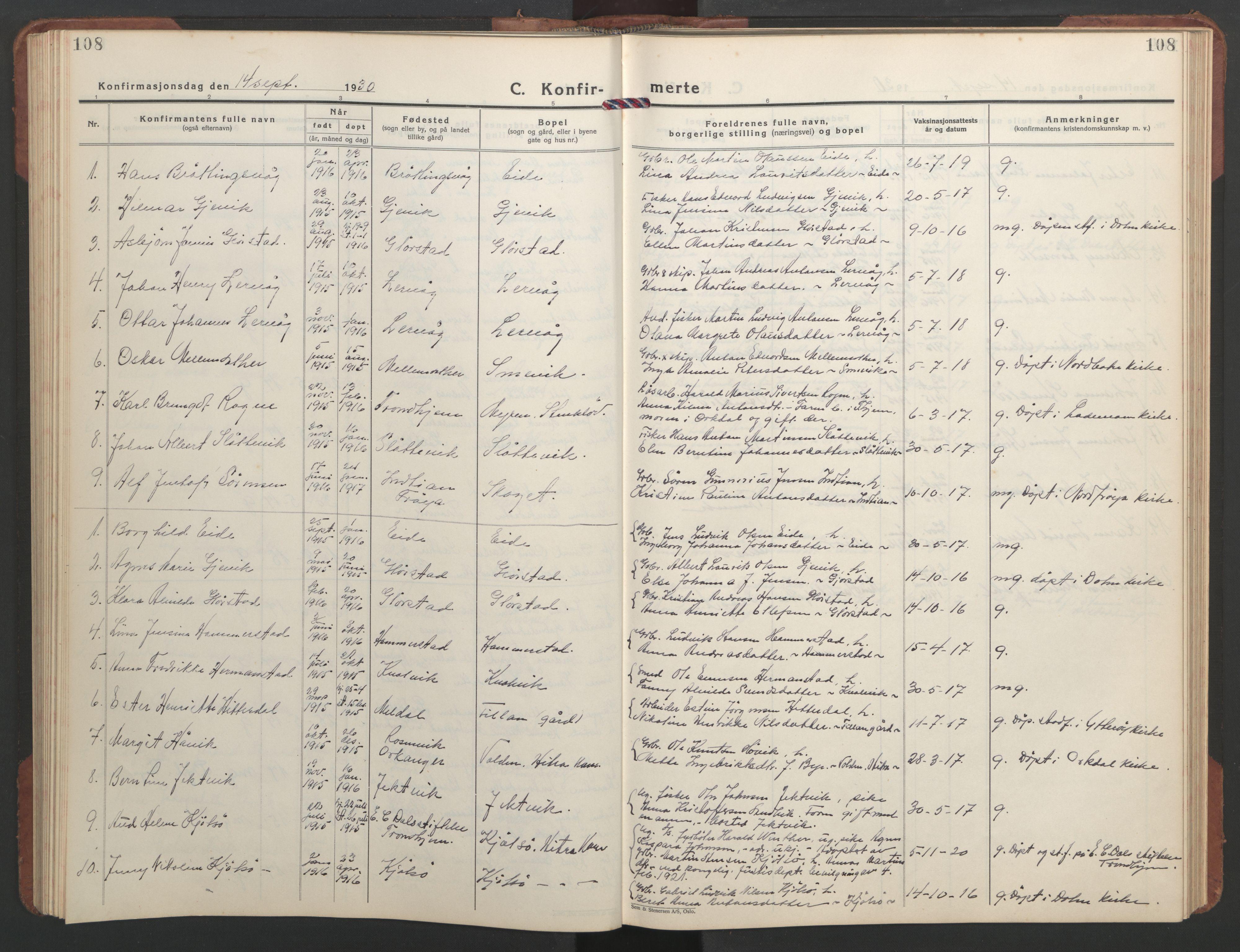 SAT, Ministerialprotokoller, klokkerbøker og fødselsregistre - Sør-Trøndelag, 637/L0564: Klokkerbok nr. 637C05, 1928-1968, s. 108
