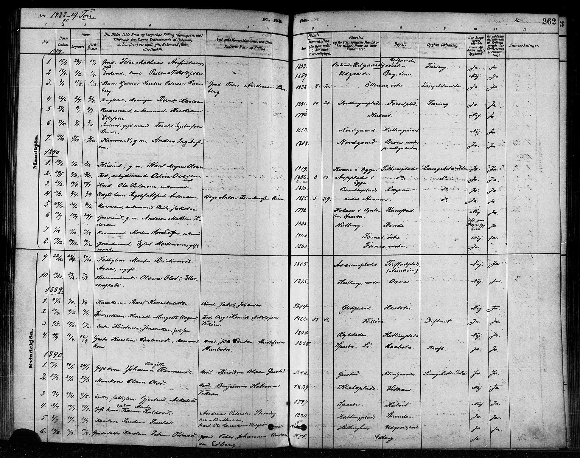 SAT, Ministerialprotokoller, klokkerbøker og fødselsregistre - Nord-Trøndelag, 746/L0448: Ministerialbok nr. 746A07 /1, 1878-1900, s. 262