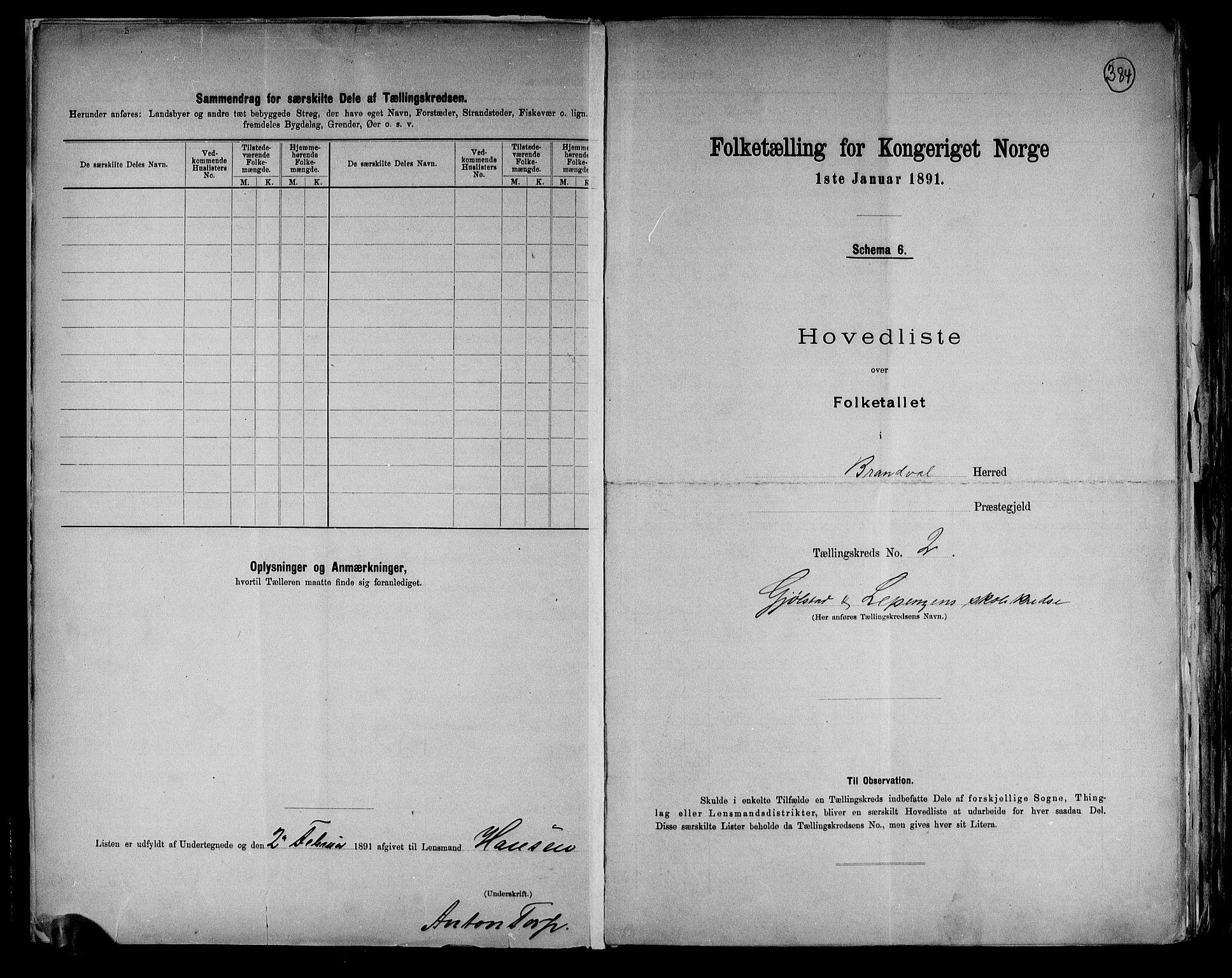 RA, Folketelling 1891 for 0422 Brandval herred, 1891, s. 6