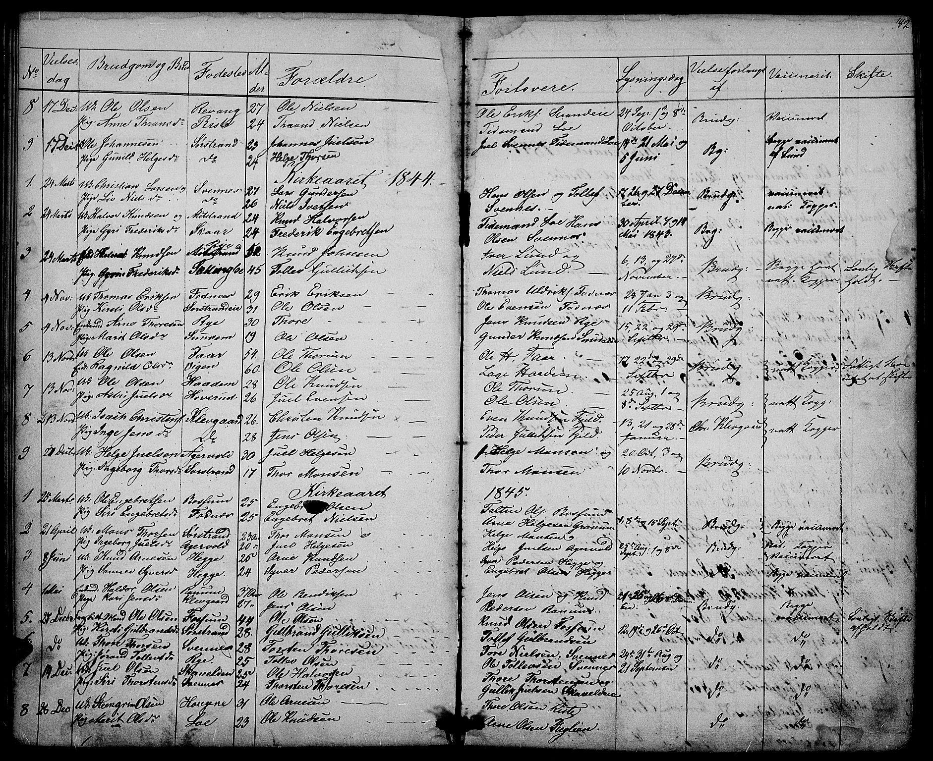 SAH, Nord-Aurdal prestekontor, Klokkerbok nr. 3, 1842-1882, s. 182