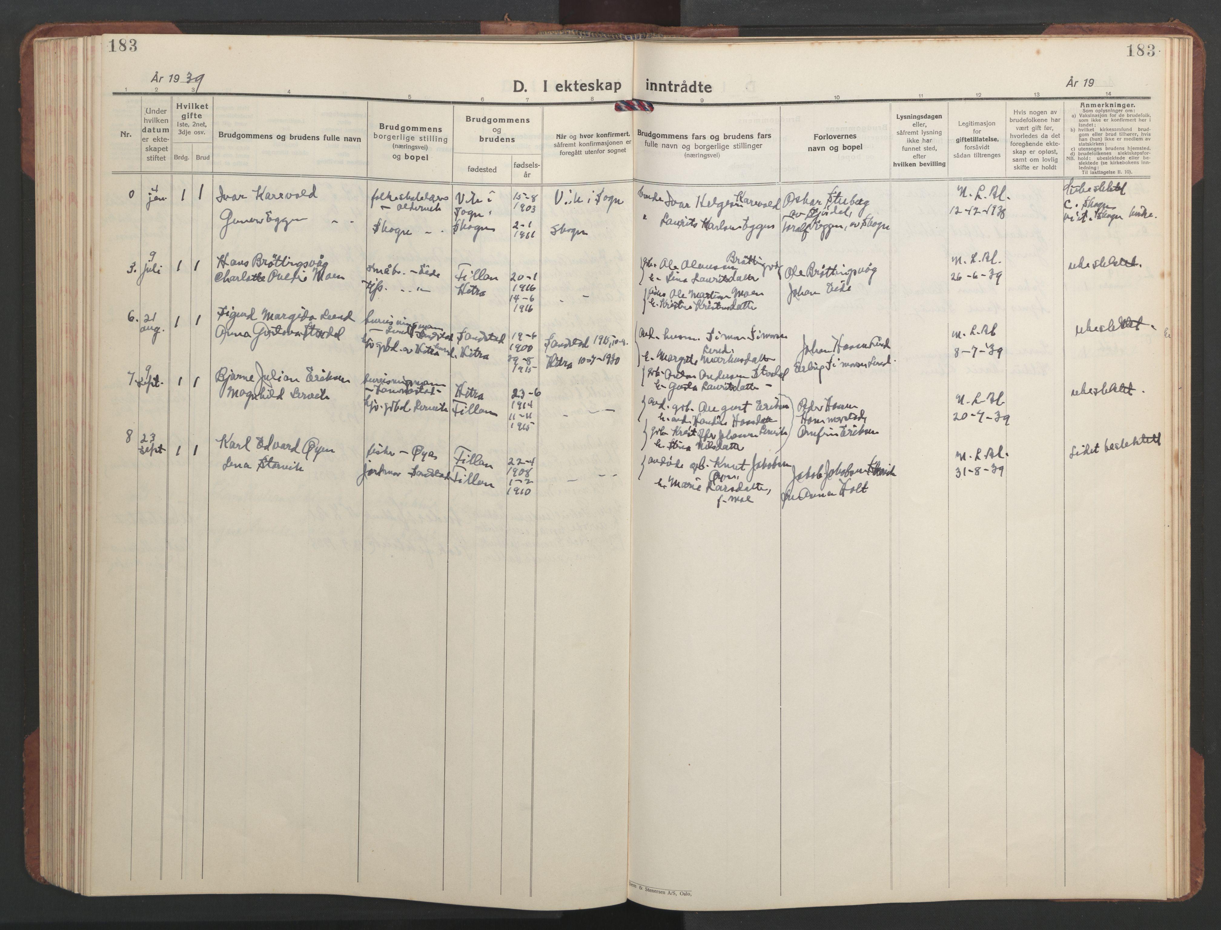 SAT, Ministerialprotokoller, klokkerbøker og fødselsregistre - Sør-Trøndelag, 637/L0564: Klokkerbok nr. 637C05, 1928-1968, s. 183