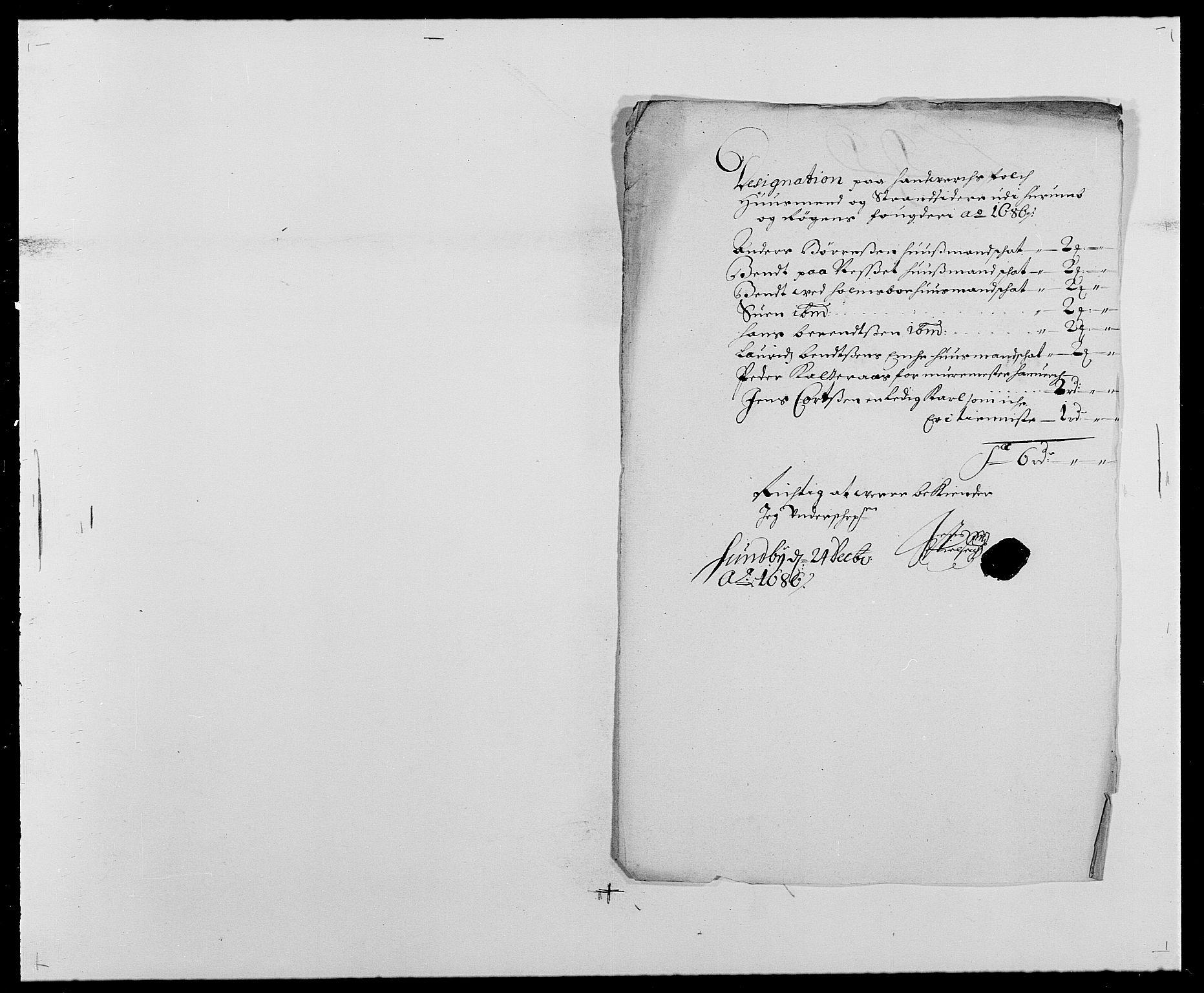 RA, Rentekammeret inntil 1814, Reviderte regnskaper, Fogderegnskap, R29/L1692: Fogderegnskap Hurum og Røyken, 1682-1687, s. 288