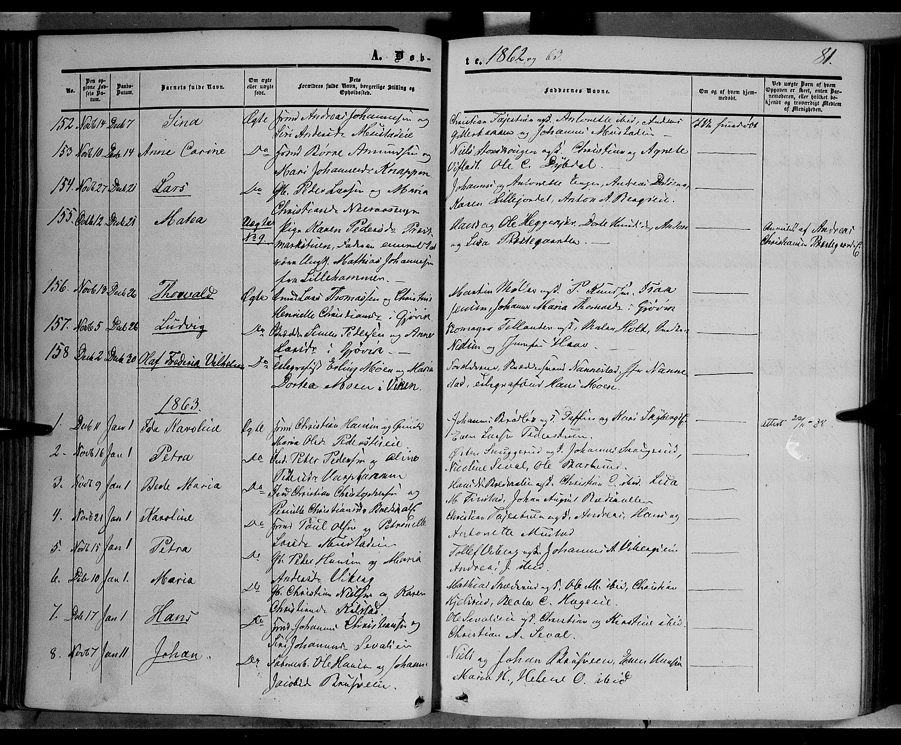 SAH, Vardal prestekontor, H/Ha/Haa/L0006: Ministerialbok nr. 6, 1854-1866, s. 81