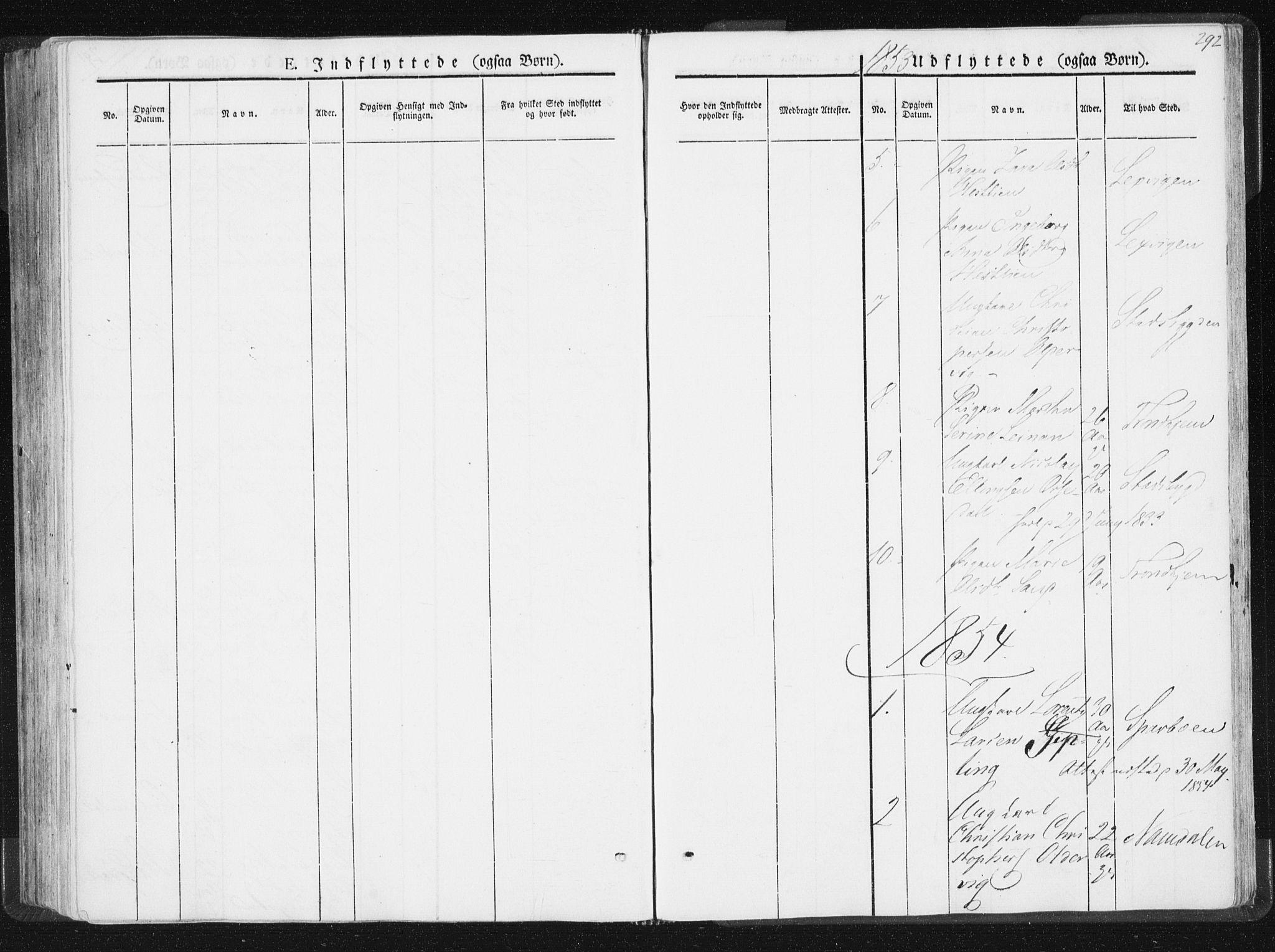 SAT, Ministerialprotokoller, klokkerbøker og fødselsregistre - Nord-Trøndelag, 744/L0418: Ministerialbok nr. 744A02, 1843-1866, s. 292