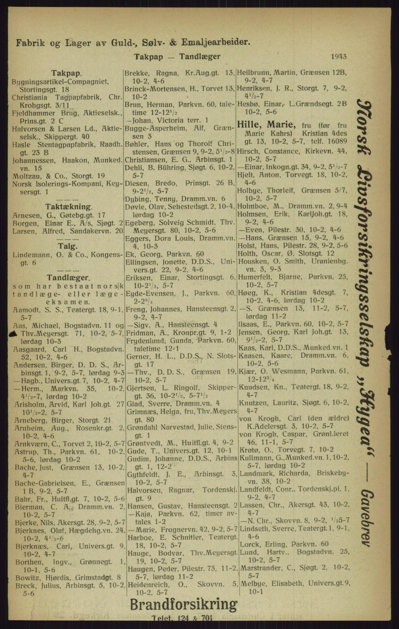 RA, Kristiania adressebok (publikasjon)*, 1916, s. 1943