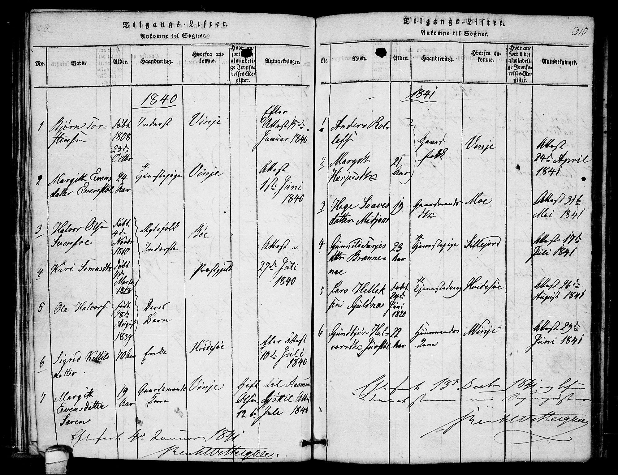 SAKO, Lårdal kirkebøker, G/Gb/L0001: Klokkerbok nr. II 1, 1815-1865, s. 310