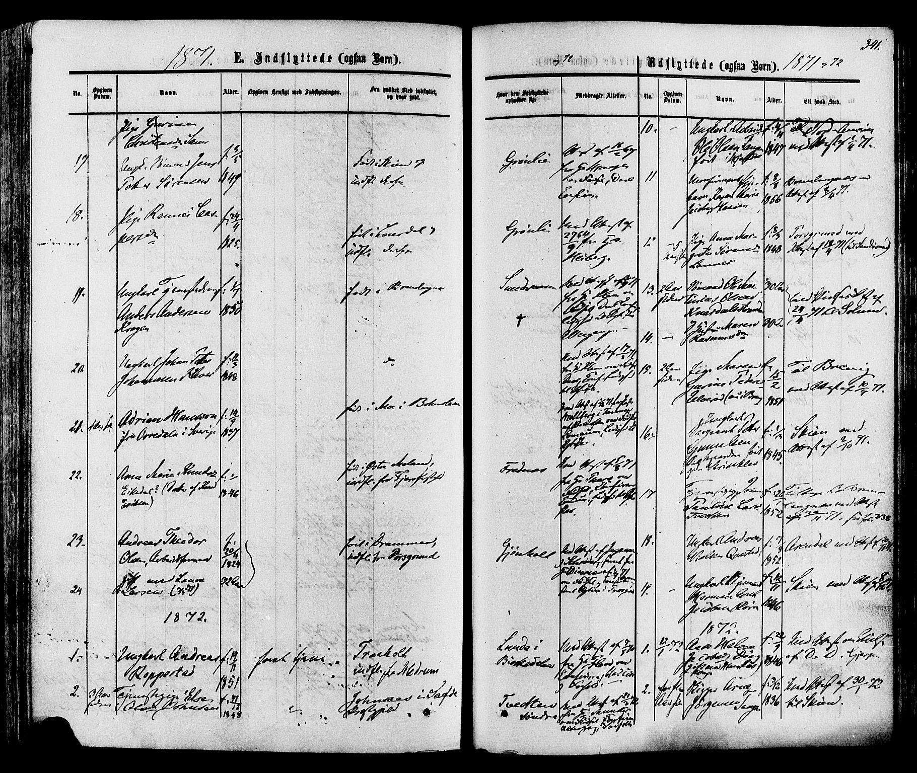 SAKO, Eidanger kirkebøker, F/Fa/L0010: Ministerialbok nr. 10, 1859-1874, s. 341