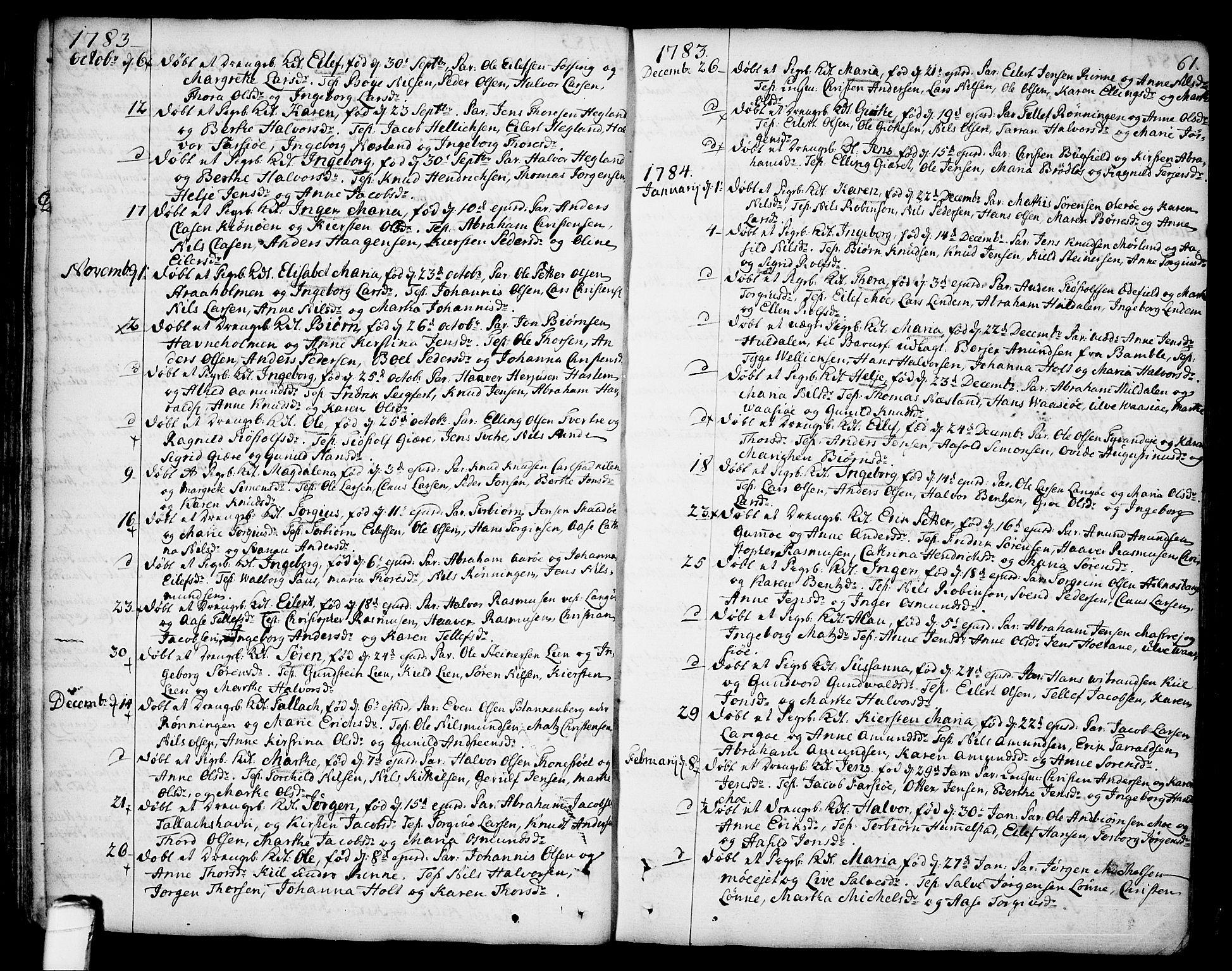 SAKO, Sannidal kirkebøker, F/Fa/L0002: Ministerialbok nr. 2, 1767-1802, s. 61