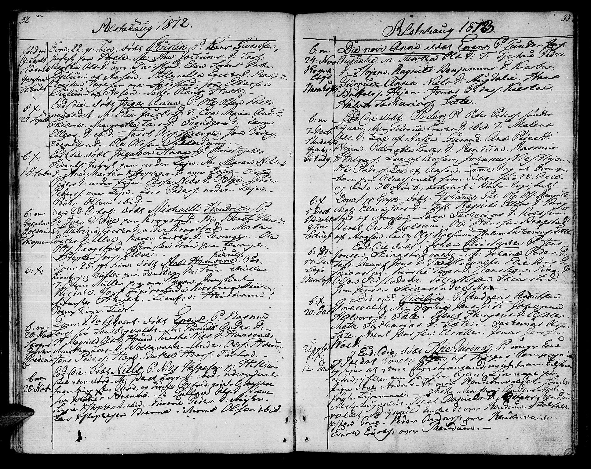 SAT, Ministerialprotokoller, klokkerbøker og fødselsregistre - Nord-Trøndelag, 717/L0145: Ministerialbok nr. 717A03 /1, 1810-1815, s. 32-33