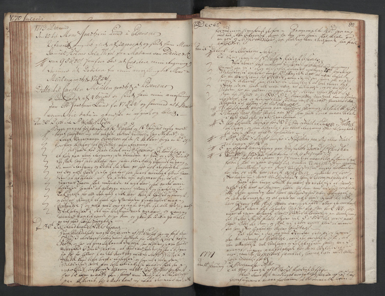 SAST, Pa 0003 - Ploug & Sundt, handelshuset, B/L0002: Kopibok, 1770-1775, s. 98b-99a