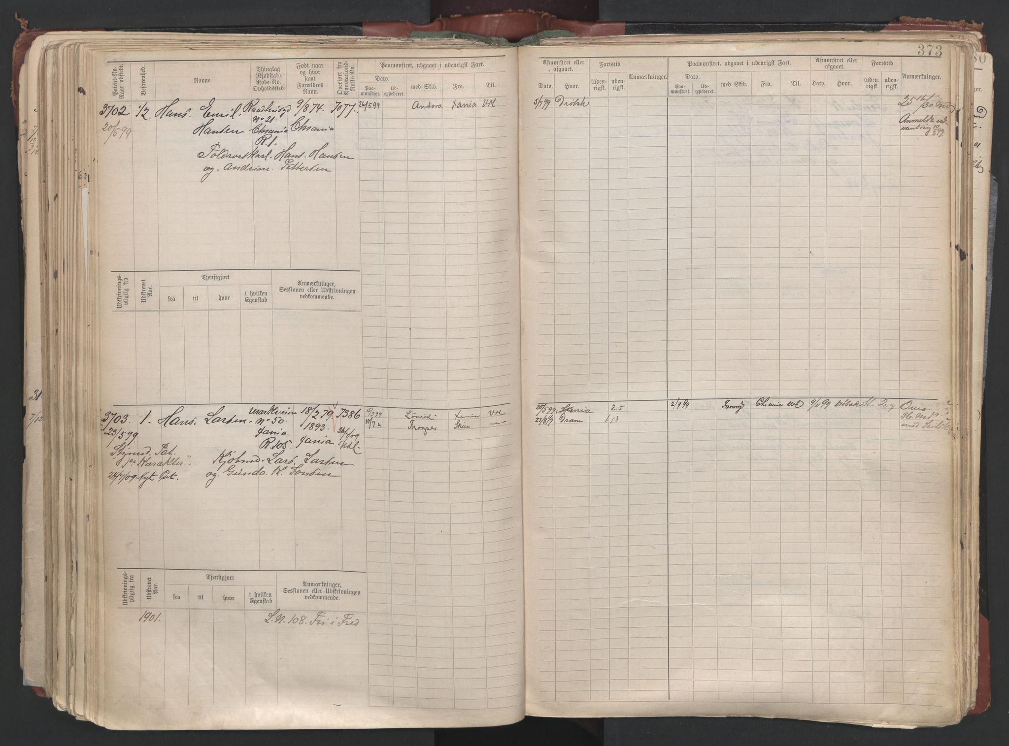 SAO, Oslo sjømannskontor, F/Fc/L0003: Hovedrulle, 1893, s. 372b-373a