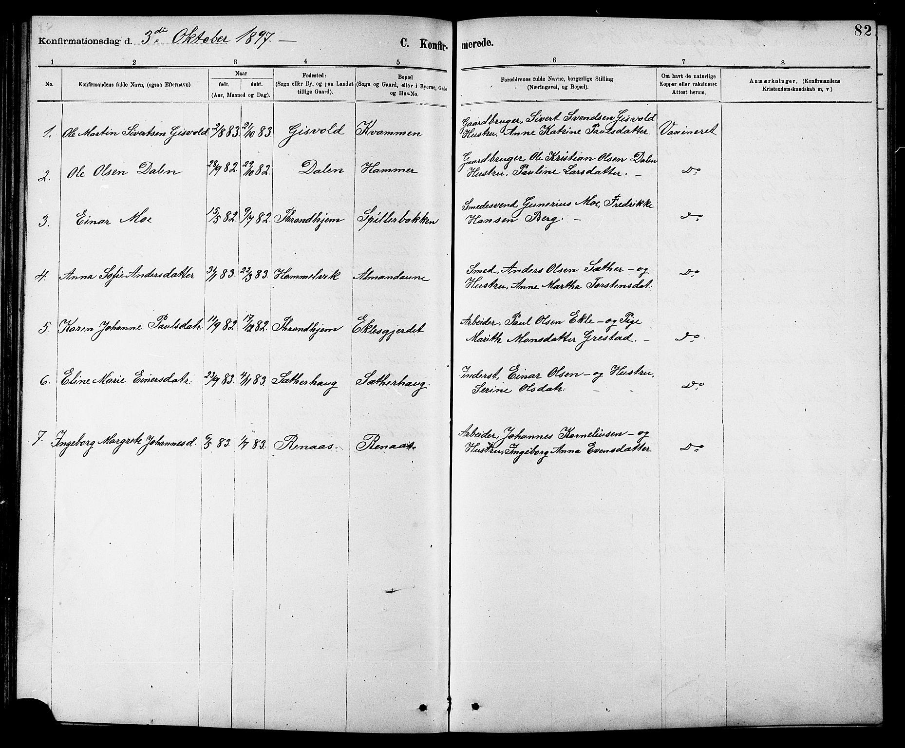 SAT, Ministerialprotokoller, klokkerbøker og fødselsregistre - Sør-Trøndelag, 608/L0341: Klokkerbok nr. 608C07, 1890-1912, s. 82